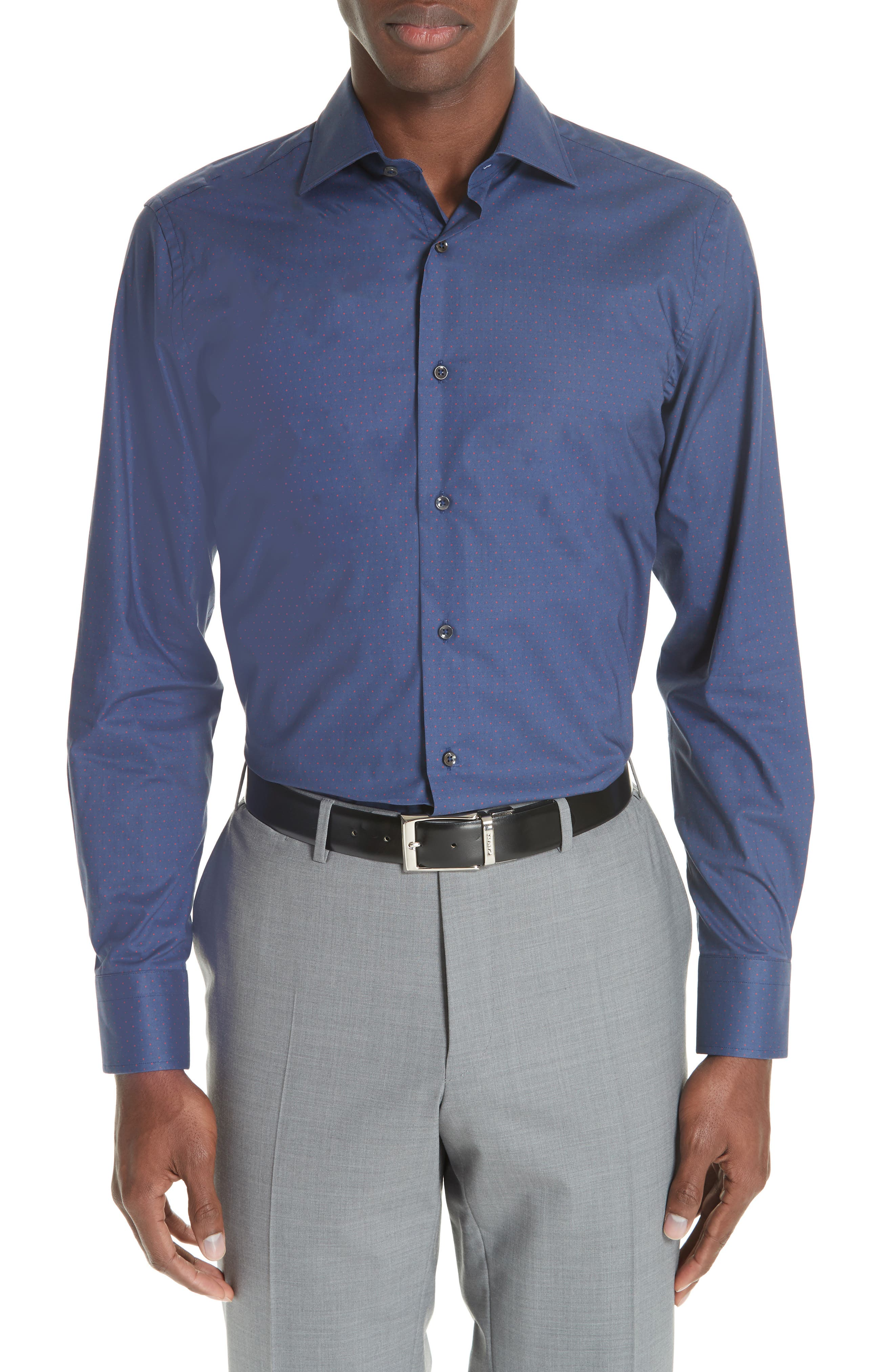 Regular Fit Dot Dress Shirt,                             Main thumbnail 1, color,                             DARK BLUE