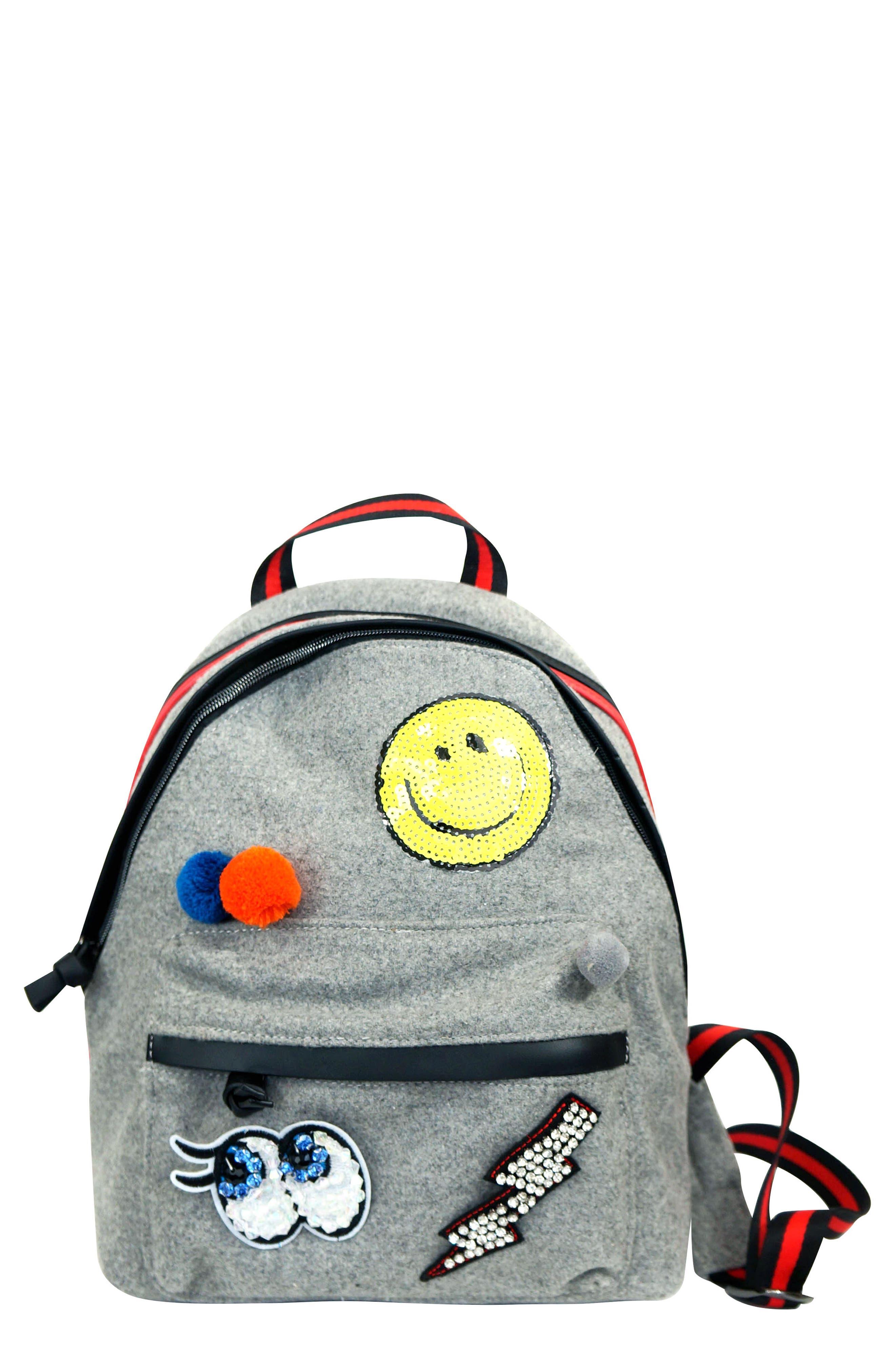 Mini Emoji & Pompom Backpack,                             Main thumbnail 1, color,                             065