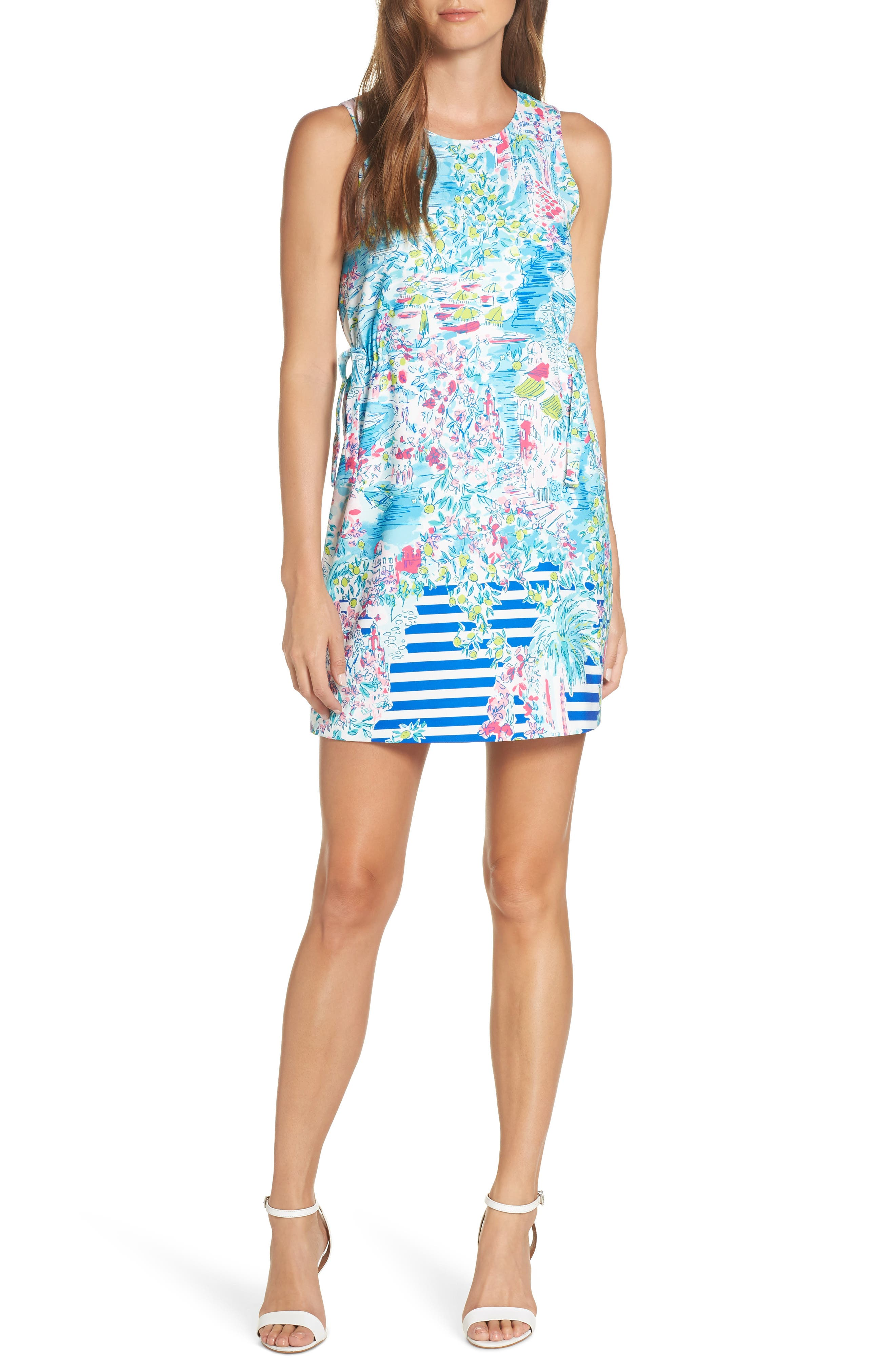 LILLY PULITZER<SUP>®</SUP> Marli Stretch Shift Dress, Main, color, MULTI POSTCARDS FROM POSITANO