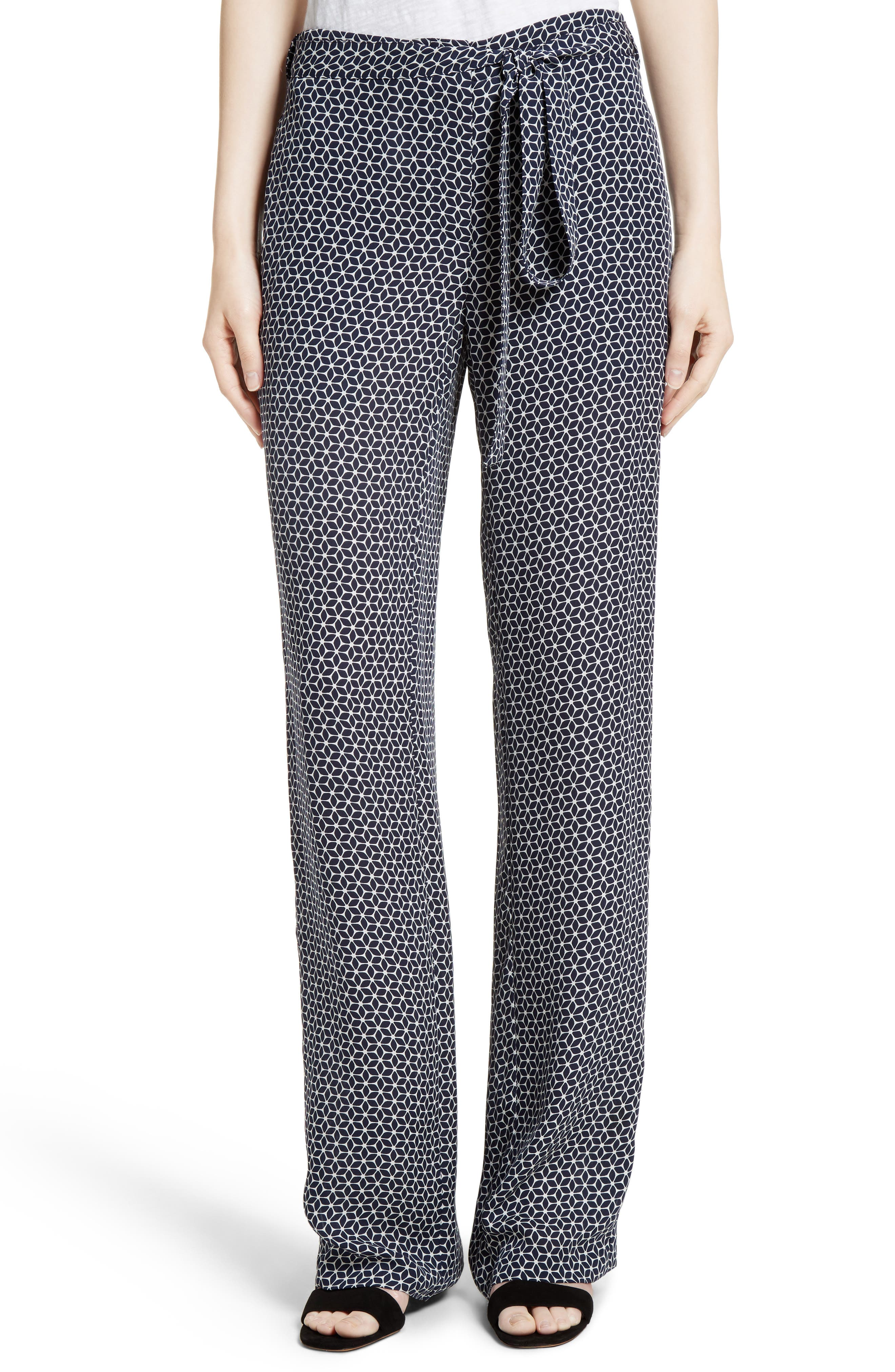 Brilda Geo Print Silk Pants, Main, color, 499