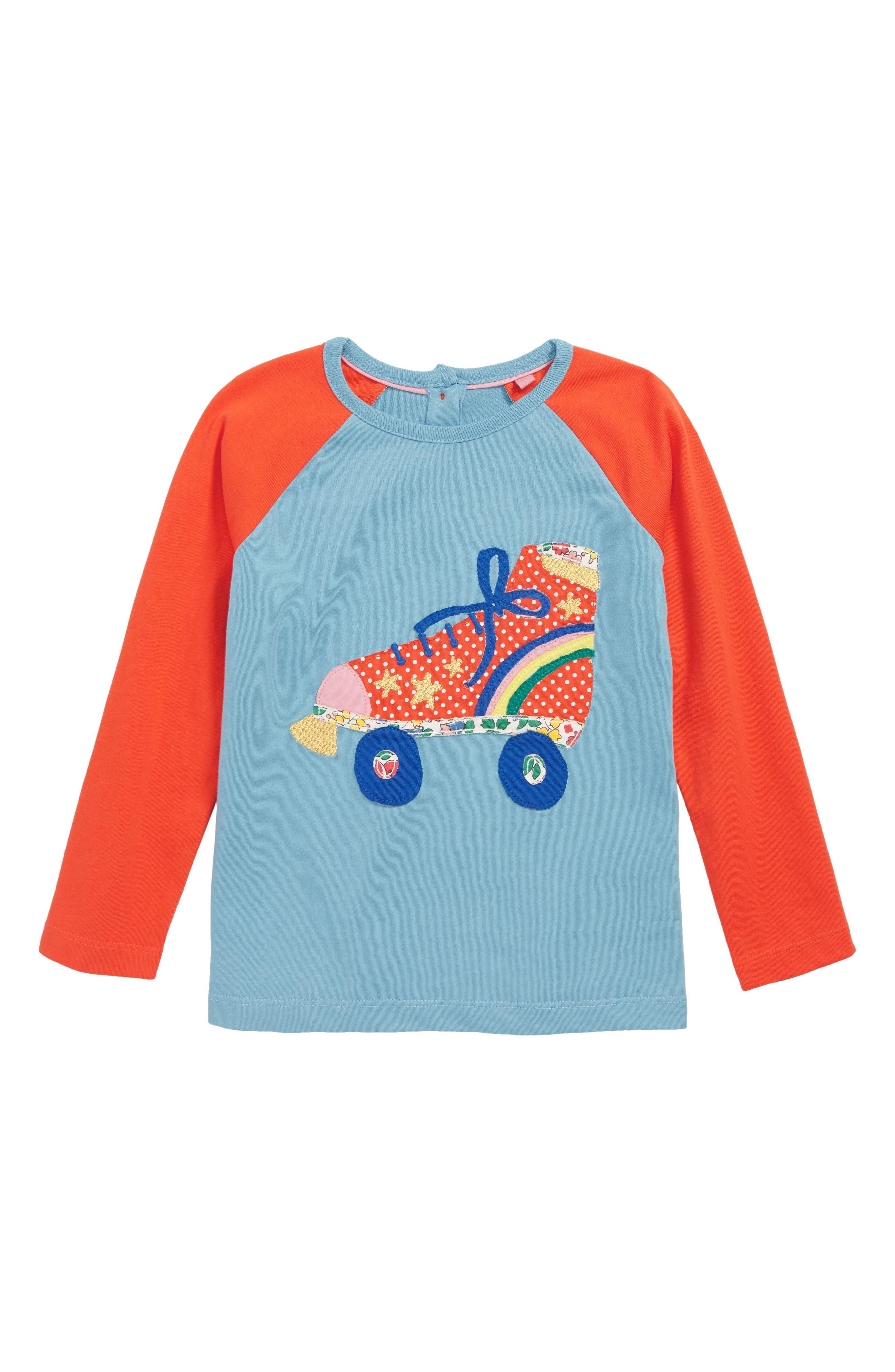 Appliqué Raglan T-Shirt,                             Main thumbnail 1, color,                             DELPHINIUM BLUE ROLLERBOOT