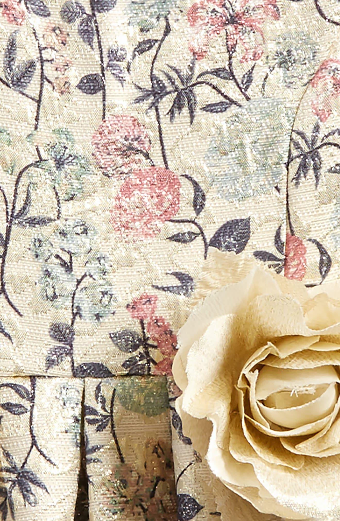 Metallic Floral Brocade Dress,                             Alternate thumbnail 2, color,                             900