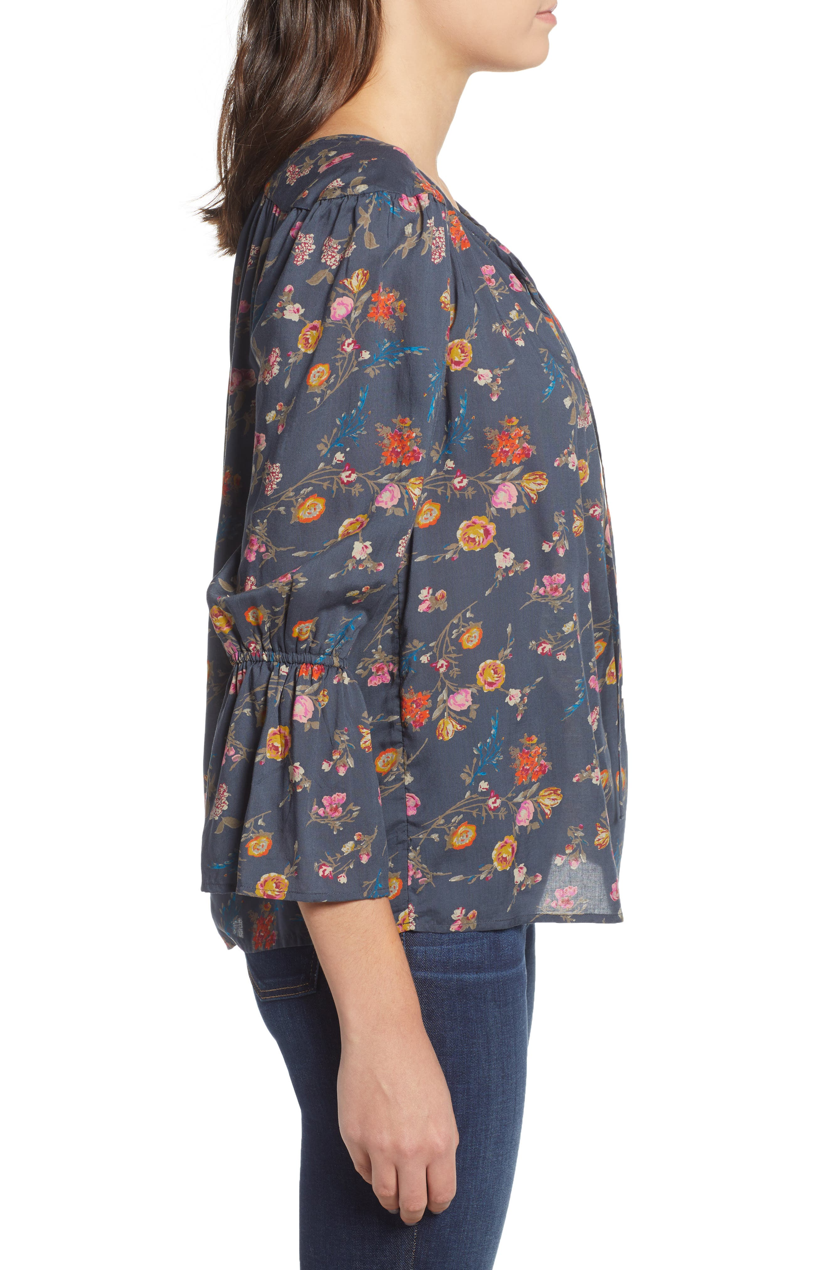 Floral Bell Sleeve Peasant Blouse,                             Alternate thumbnail 3, color,                             440