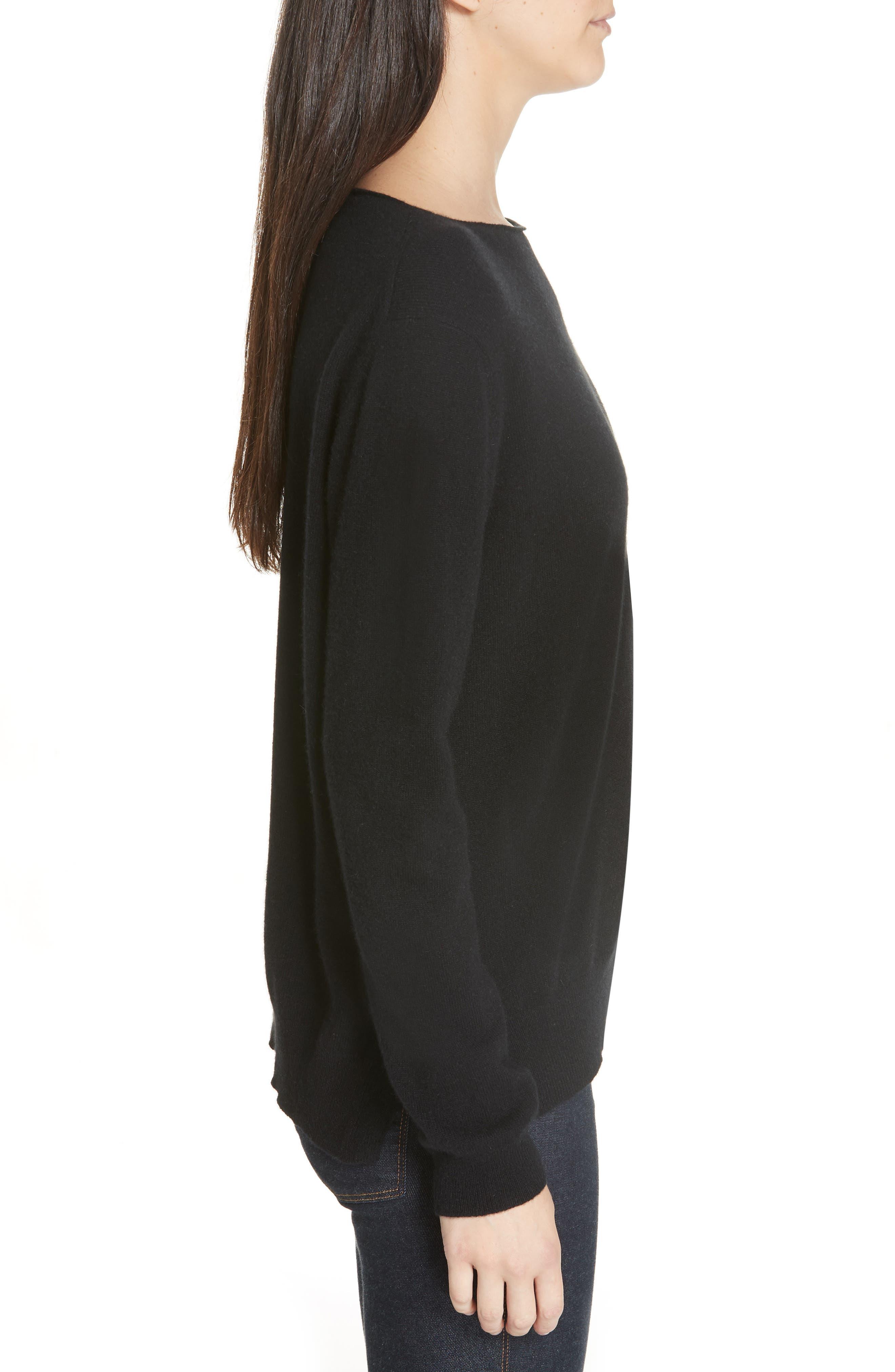 Crewneck Cashmere Sweater,                             Alternate thumbnail 3, color,                             BLACK