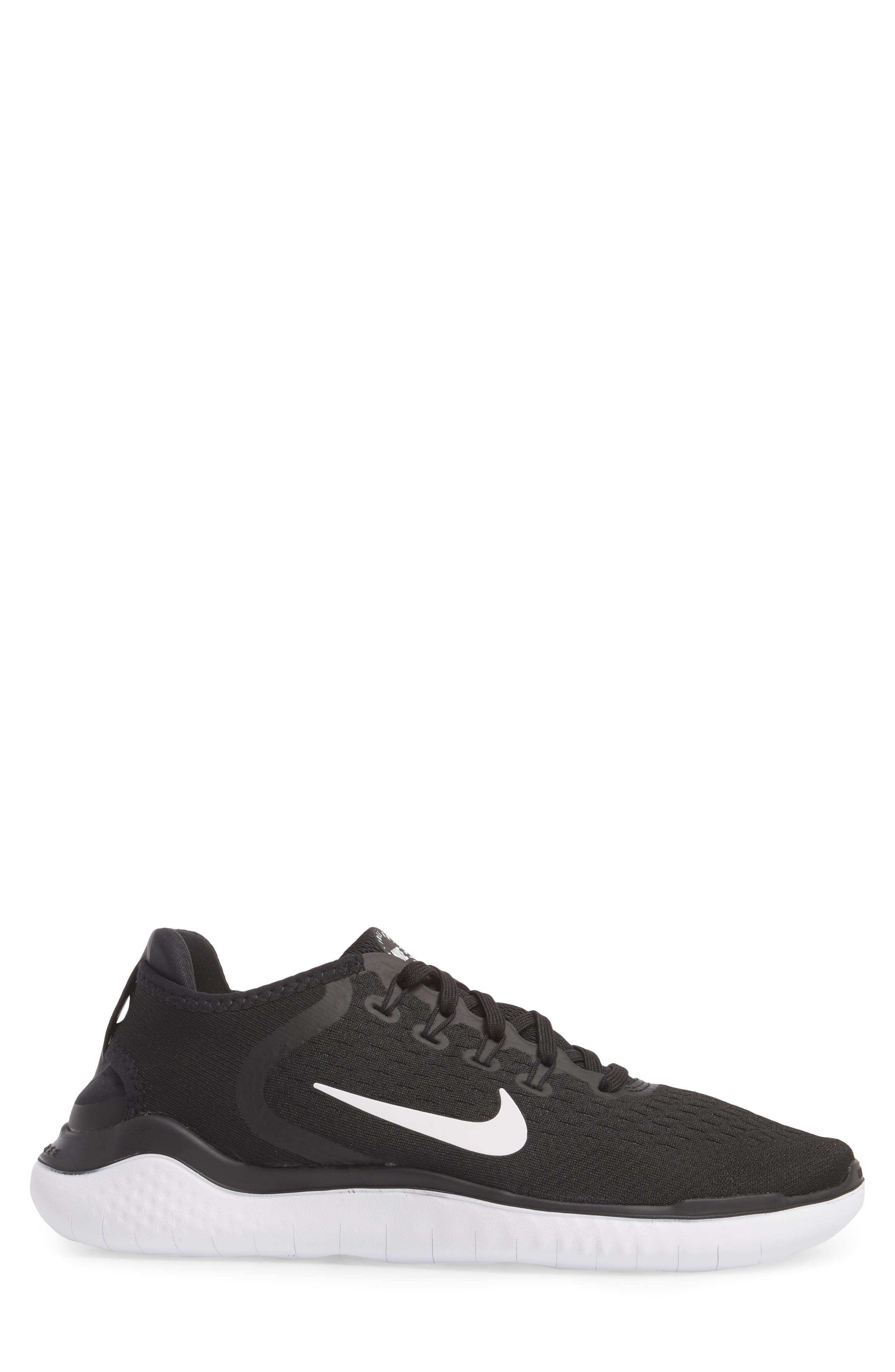 Free RN 2018 Running Shoe,                             Alternate thumbnail 3, color,                             BLACK/ WHITE