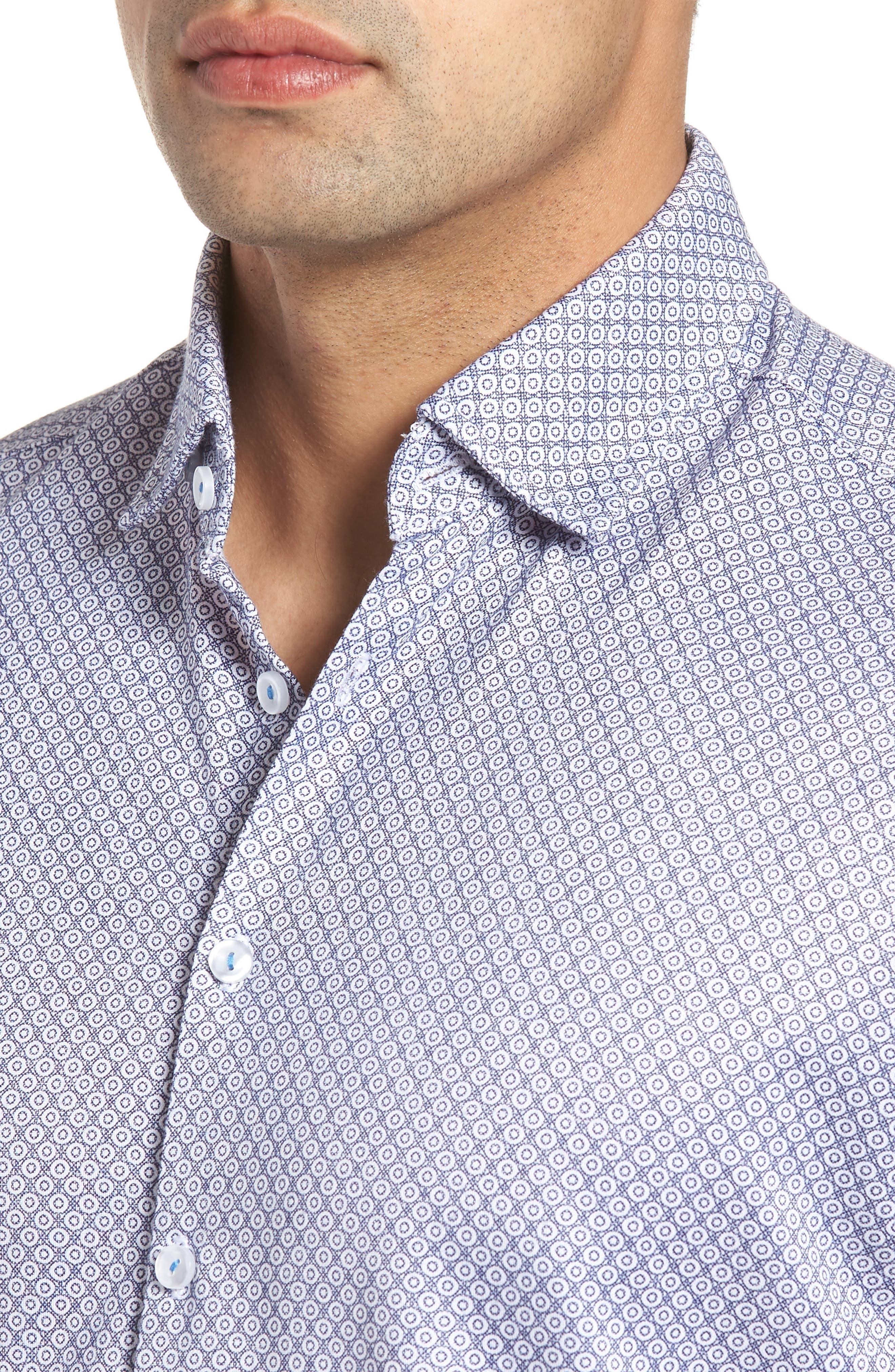 Contemporary Fit Geo Tech Sport Shirt,                             Alternate thumbnail 4, color,                             WHITE