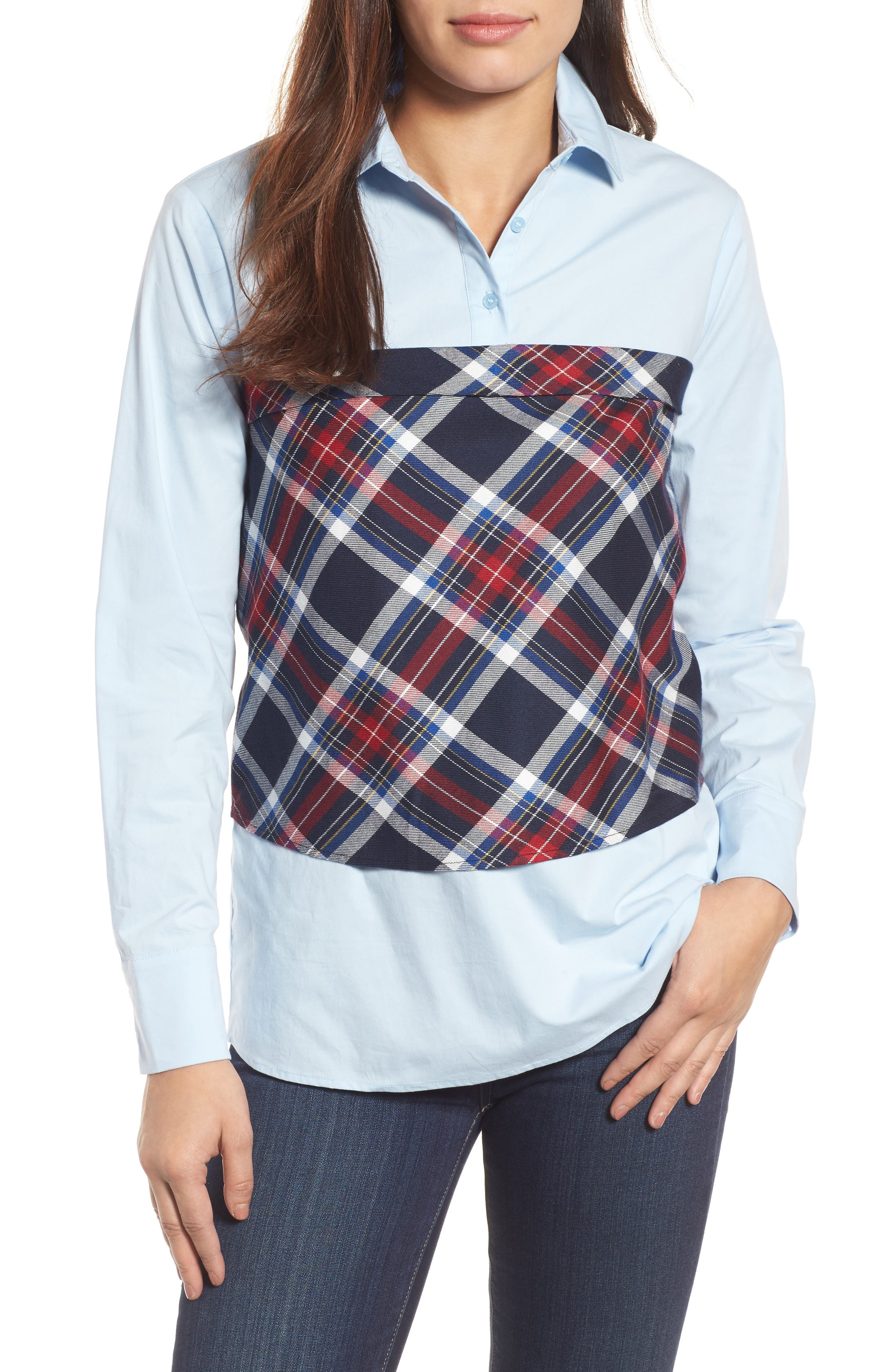 Plaid Corset Shirt,                             Main thumbnail 2, color,
