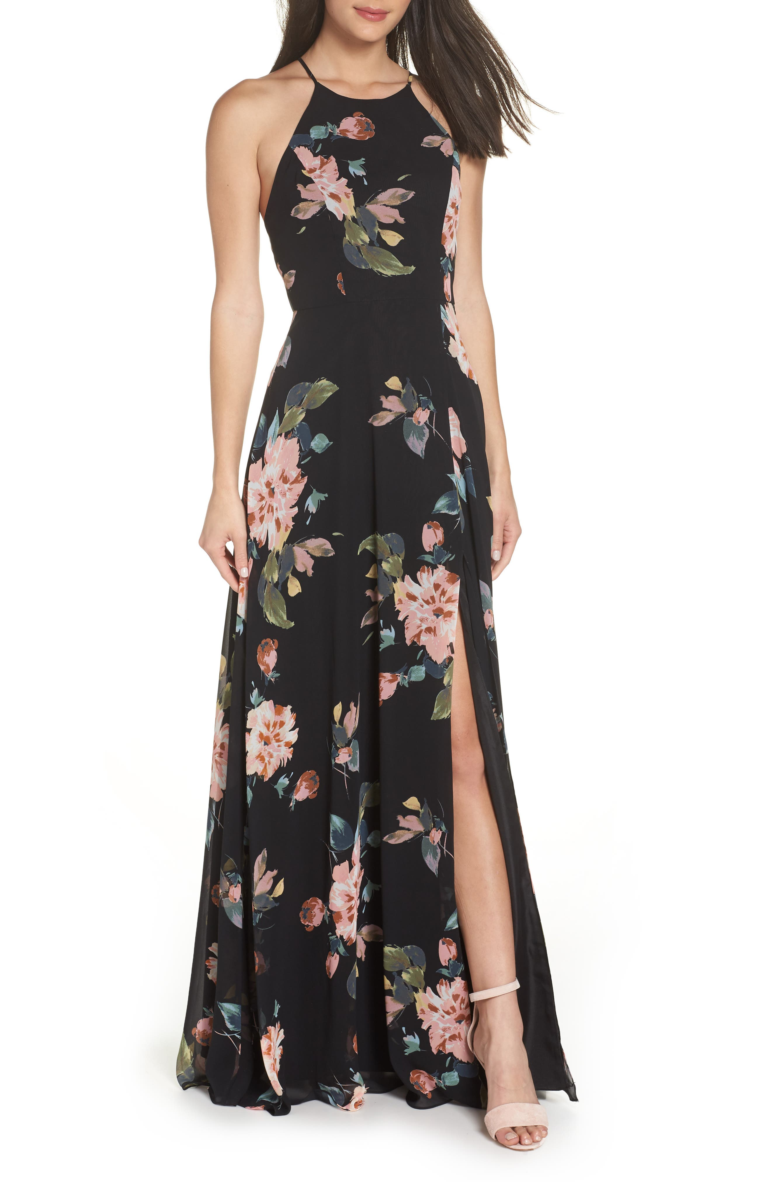 Jenny Yoo Collection Kayla Ohana Print Gown, Black