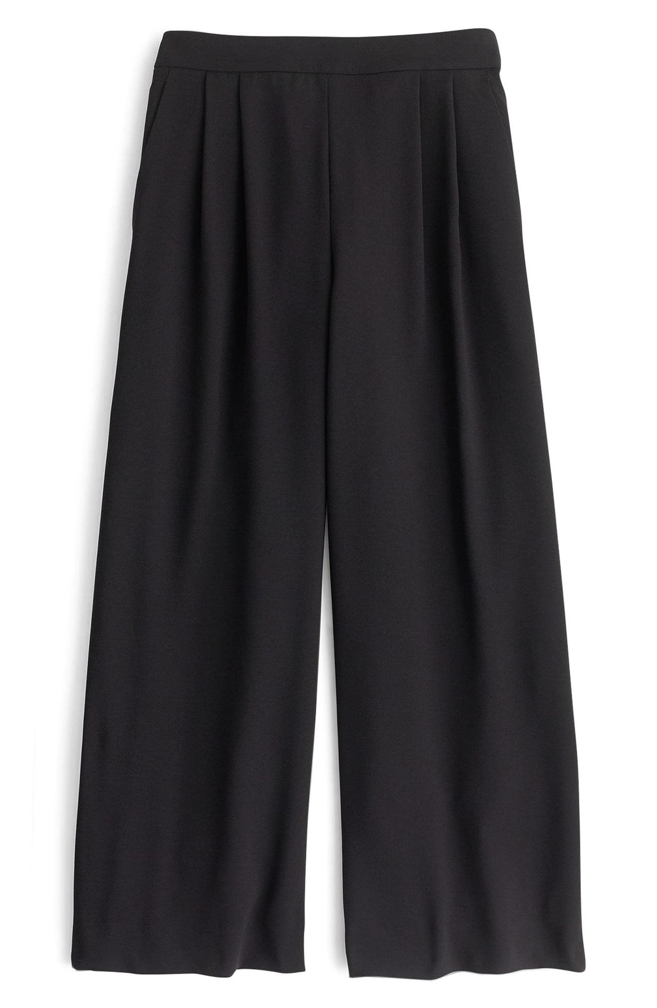 Petite J.crew Wide Leg Crop Pants, Black
