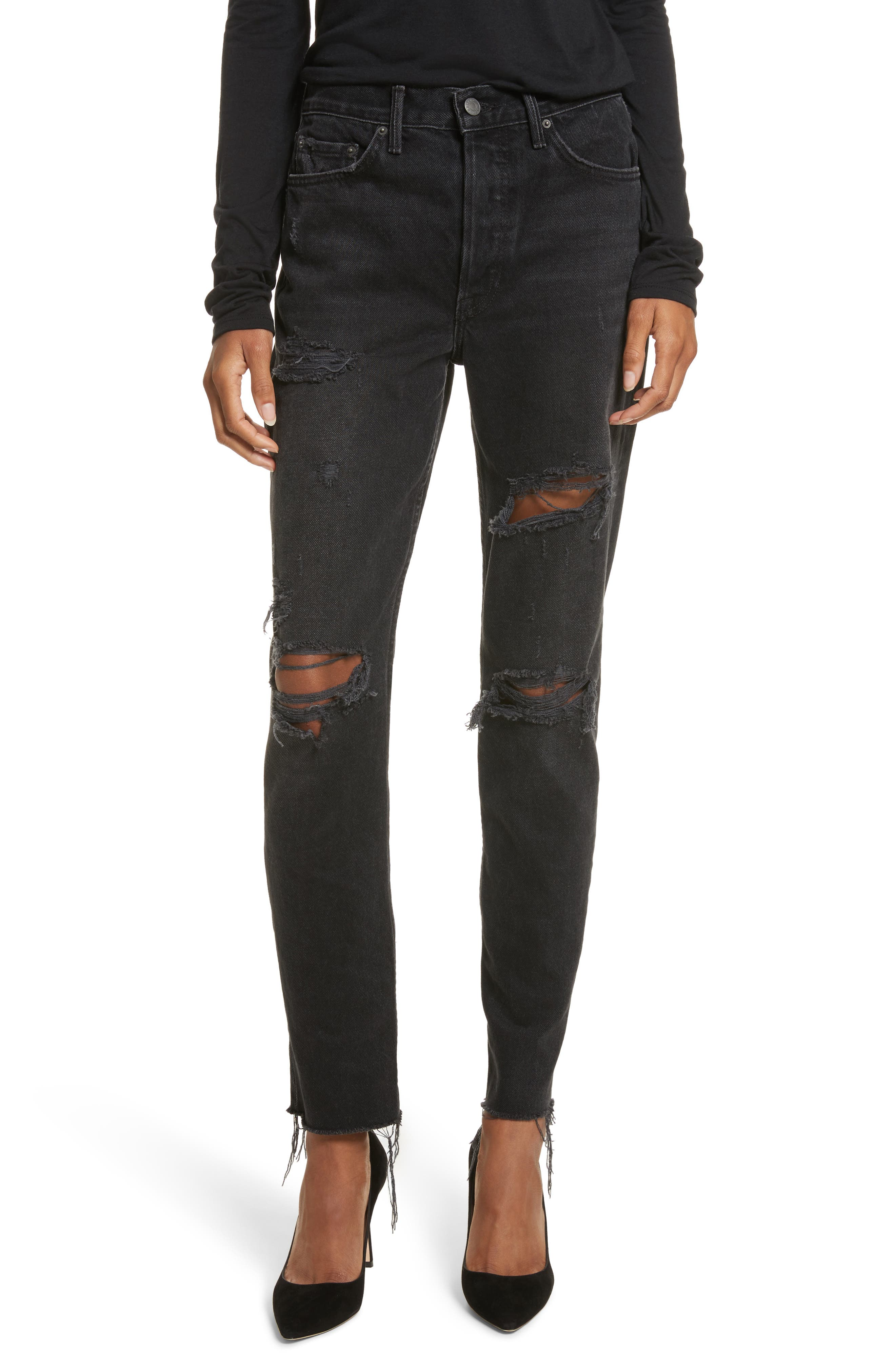 Karolina Ripped Rigid High Waist Skinny Jeans,                             Main thumbnail 1, color,                             TRAVELIN BAND