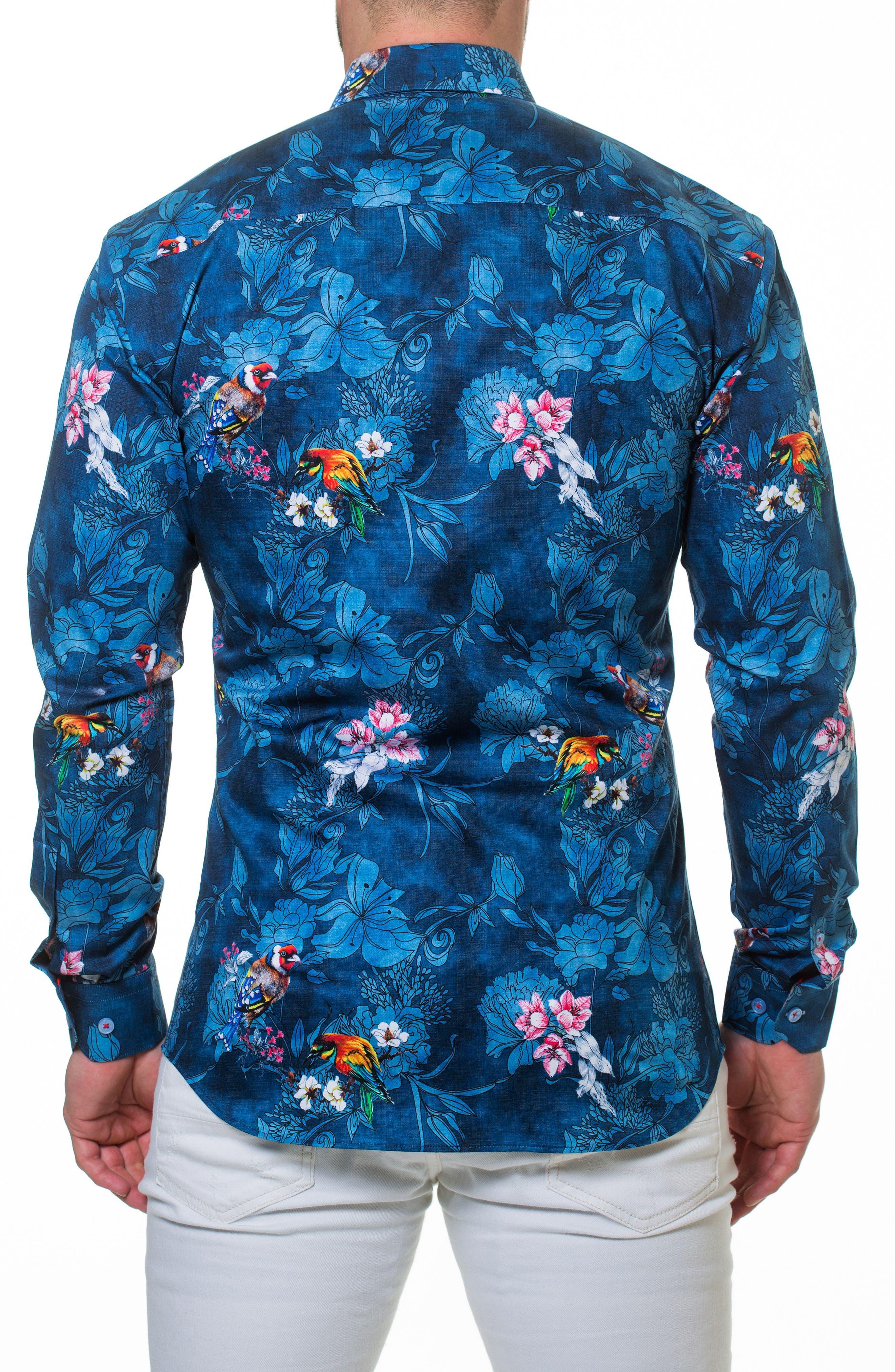 Wall Street Blossom Blue Sport Shirt,                             Alternate thumbnail 2, color,                             420