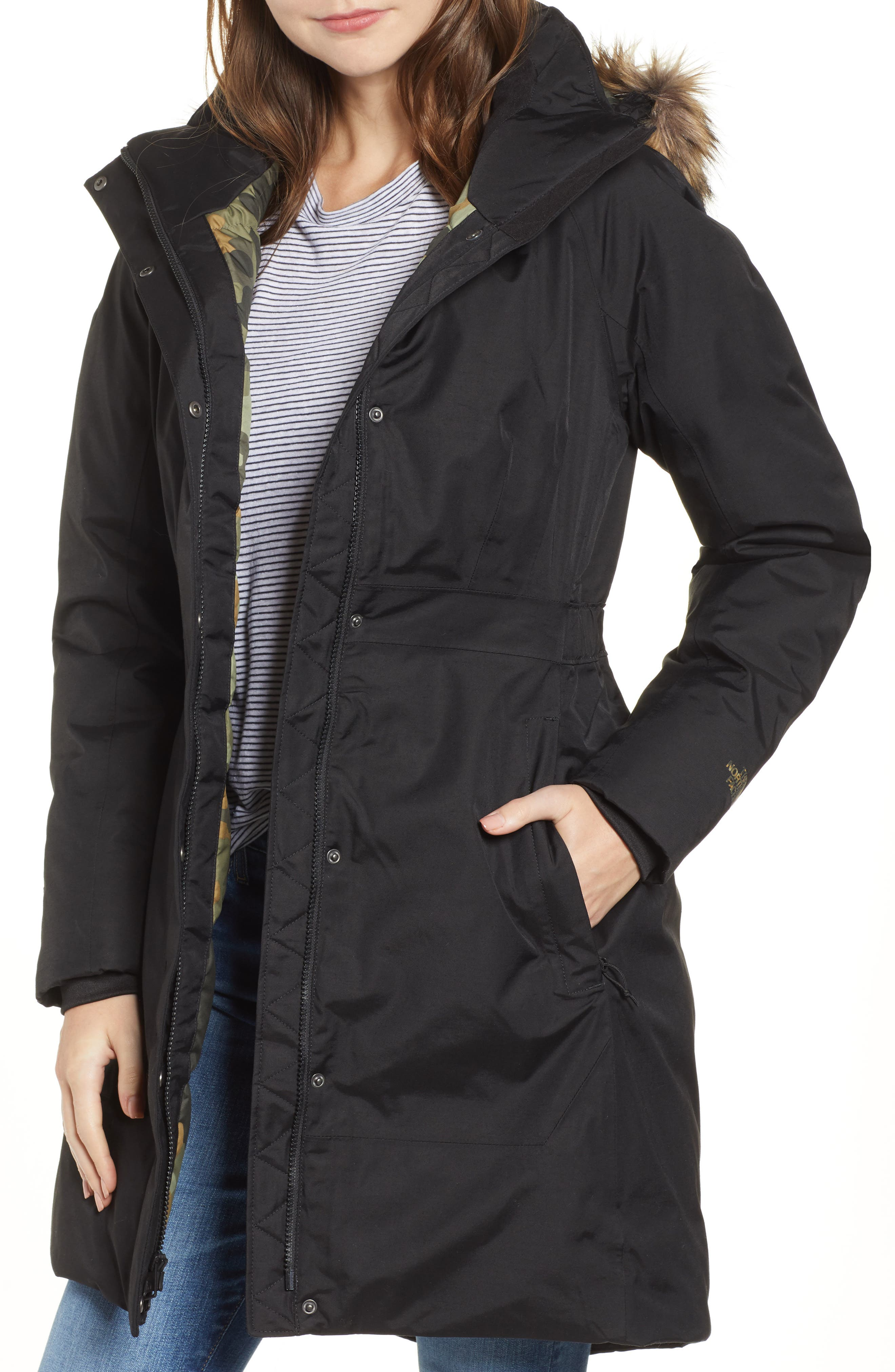 THE NORTH FACE,                             Arctic II Waterproof 550 Fill Power Down Parka with Faux Fur Trim,                             Main thumbnail 1, color,                             001