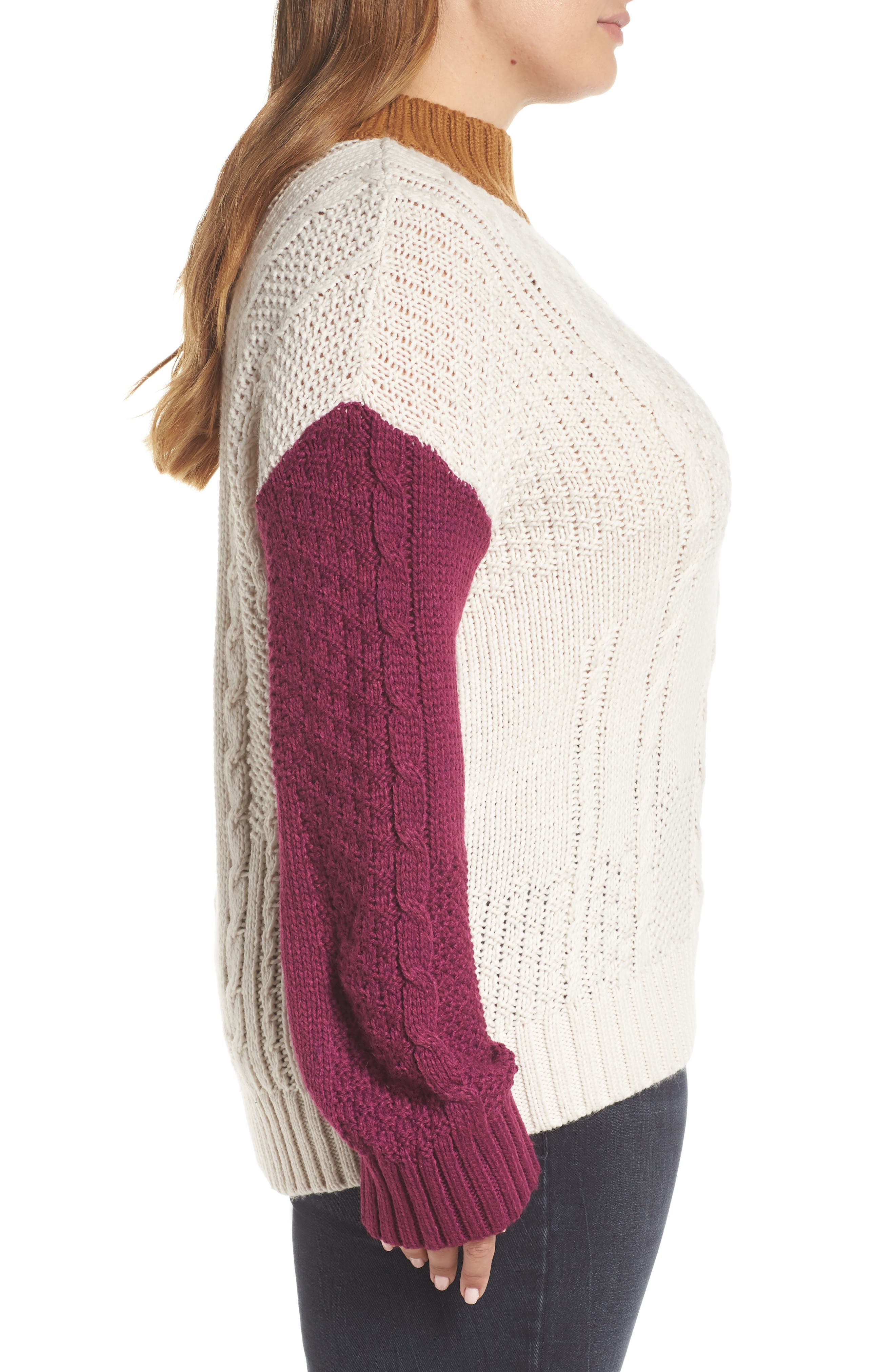 Colorblock Cable Knit Pullover,                             Alternate thumbnail 9, color,                             270
