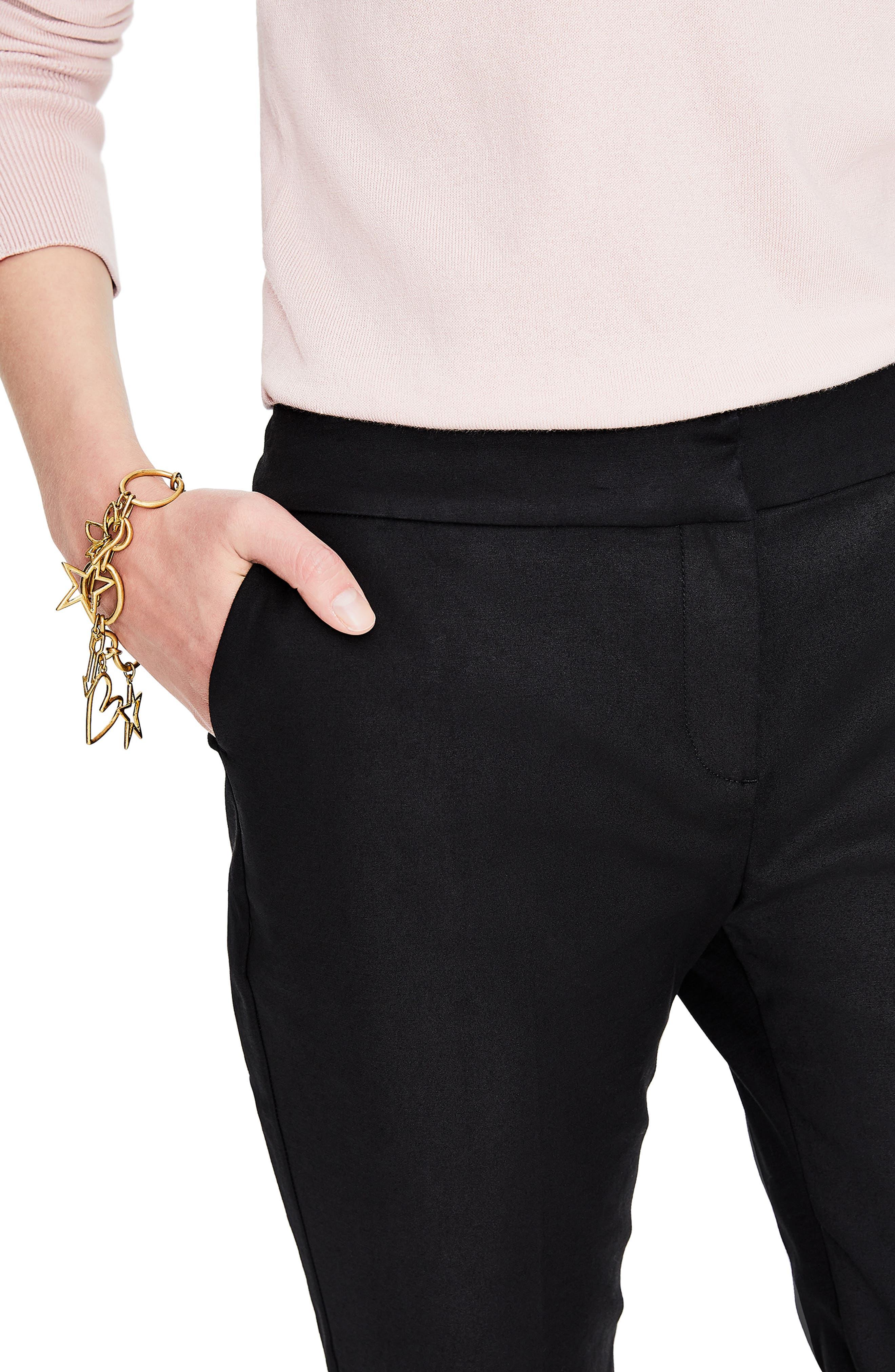 Richmond Stretch Cotton Trousers,                             Alternate thumbnail 4, color,                             BLACK