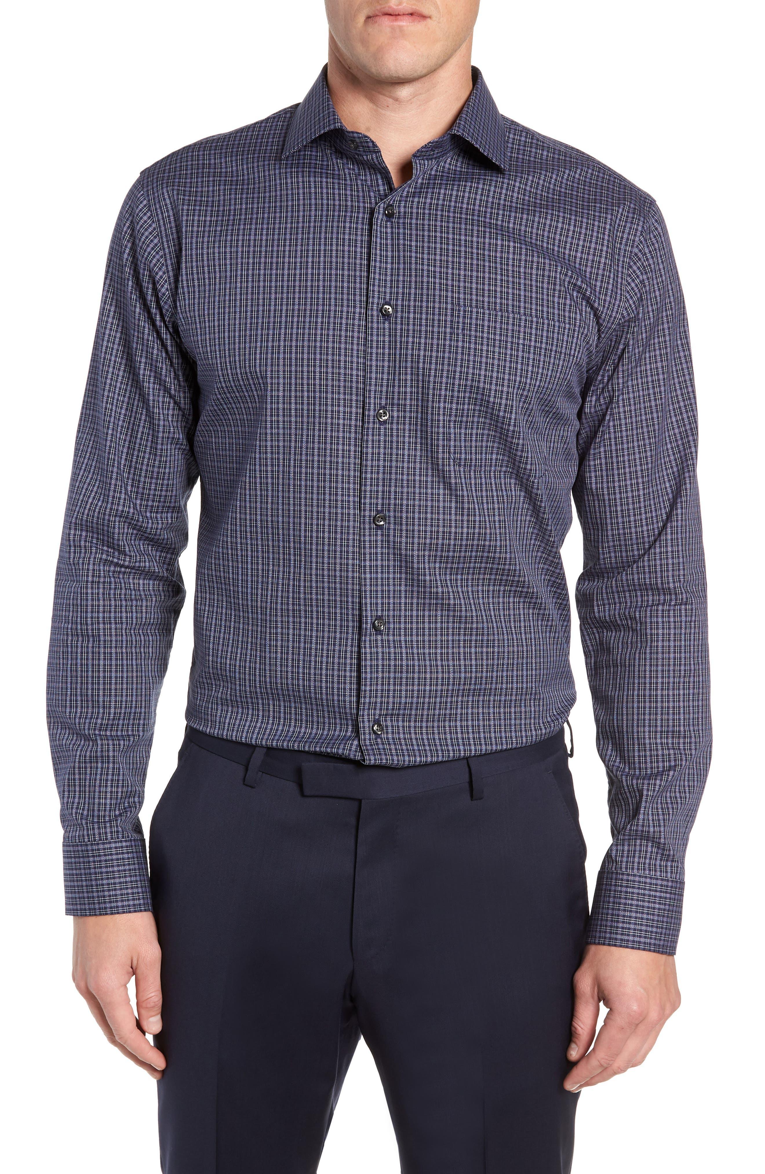 Trim Fit Non-Iron Plaid Dress Shirt,                         Main,                         color, NAVY NIGHT