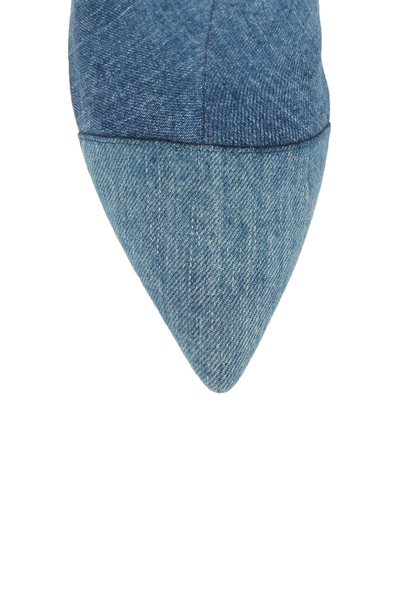 Finite Block Heel Bootie,                             Alternate thumbnail 5, color,                             BLUE DENIM