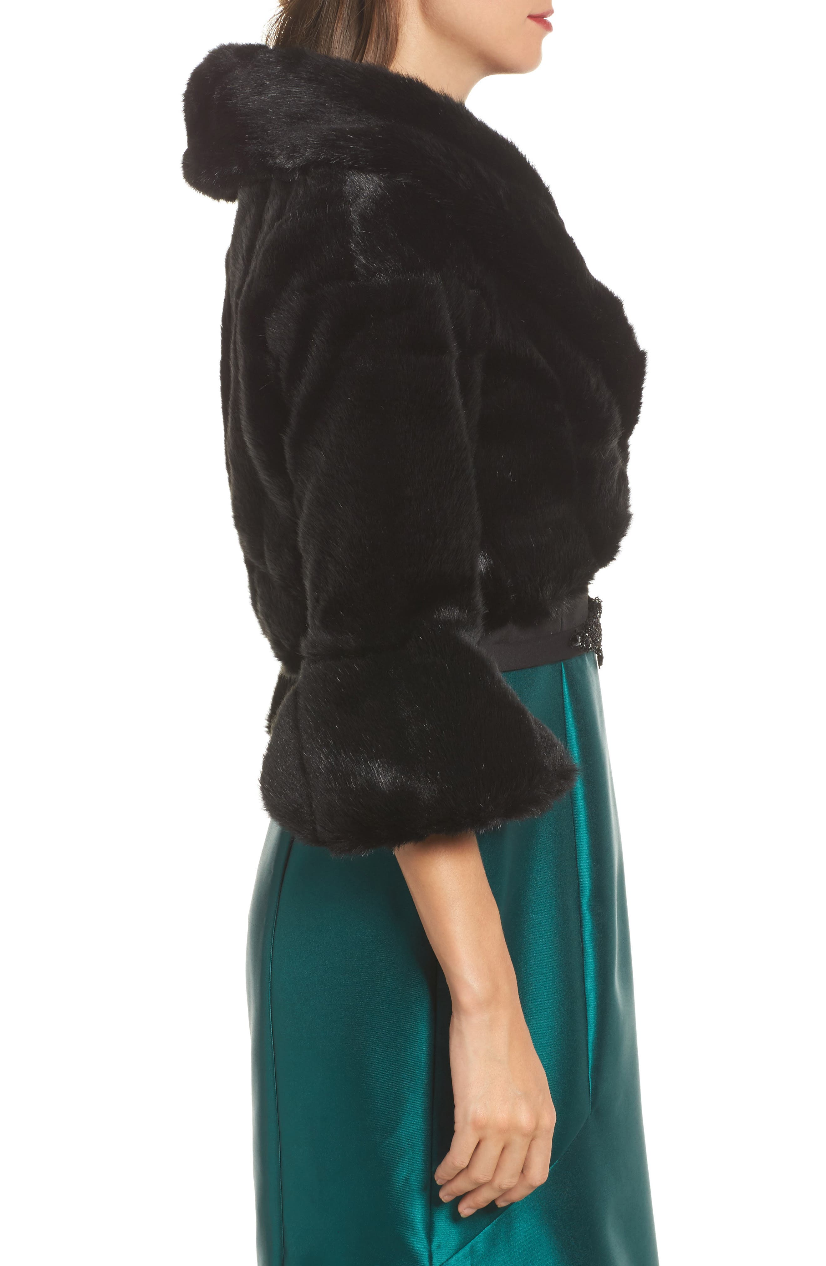 Faux Fur Jacket,                             Alternate thumbnail 3, color,                             001
