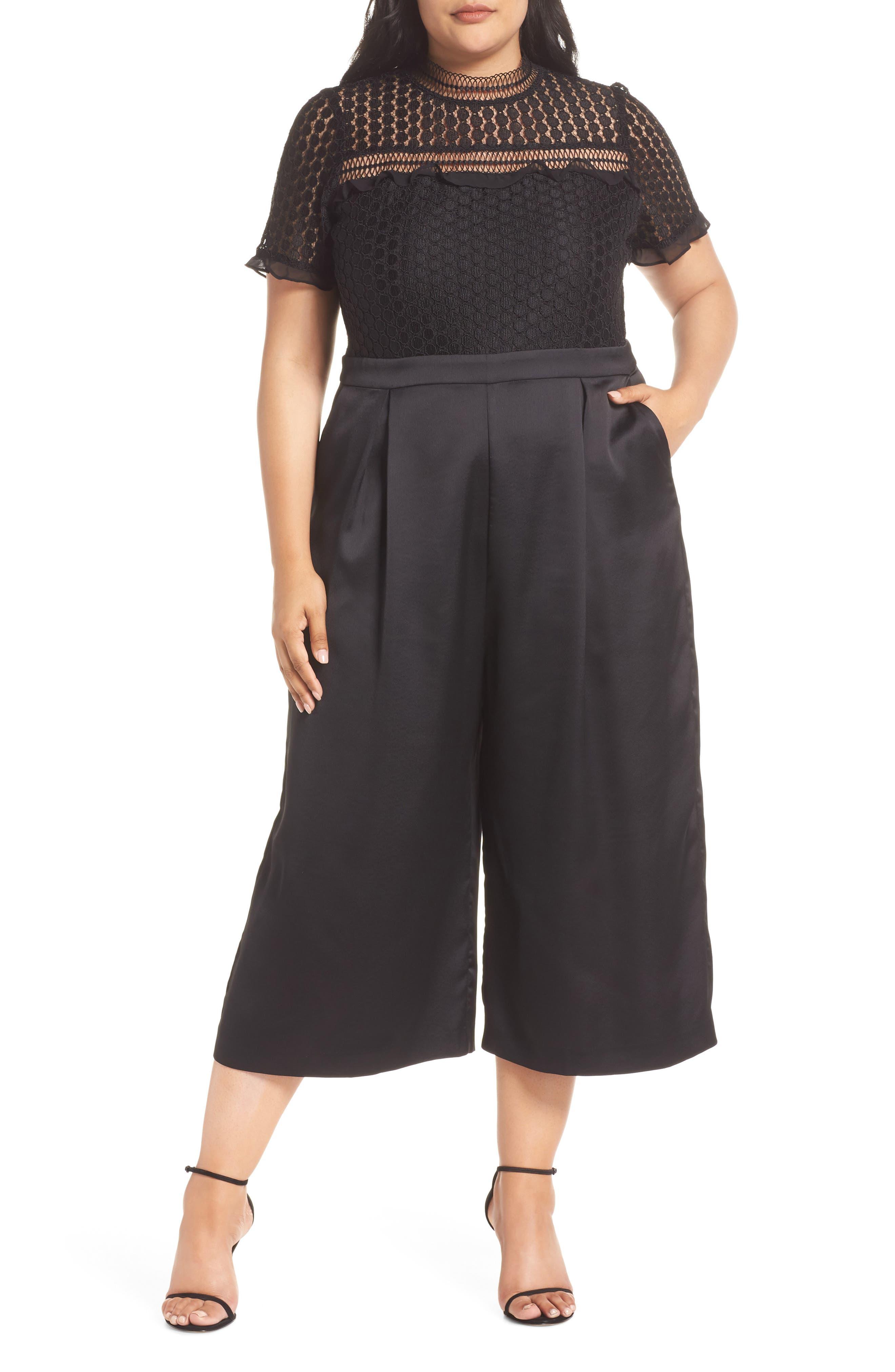 Lace Crop Jumpsuit,                             Main thumbnail 1, color,                             BLACK