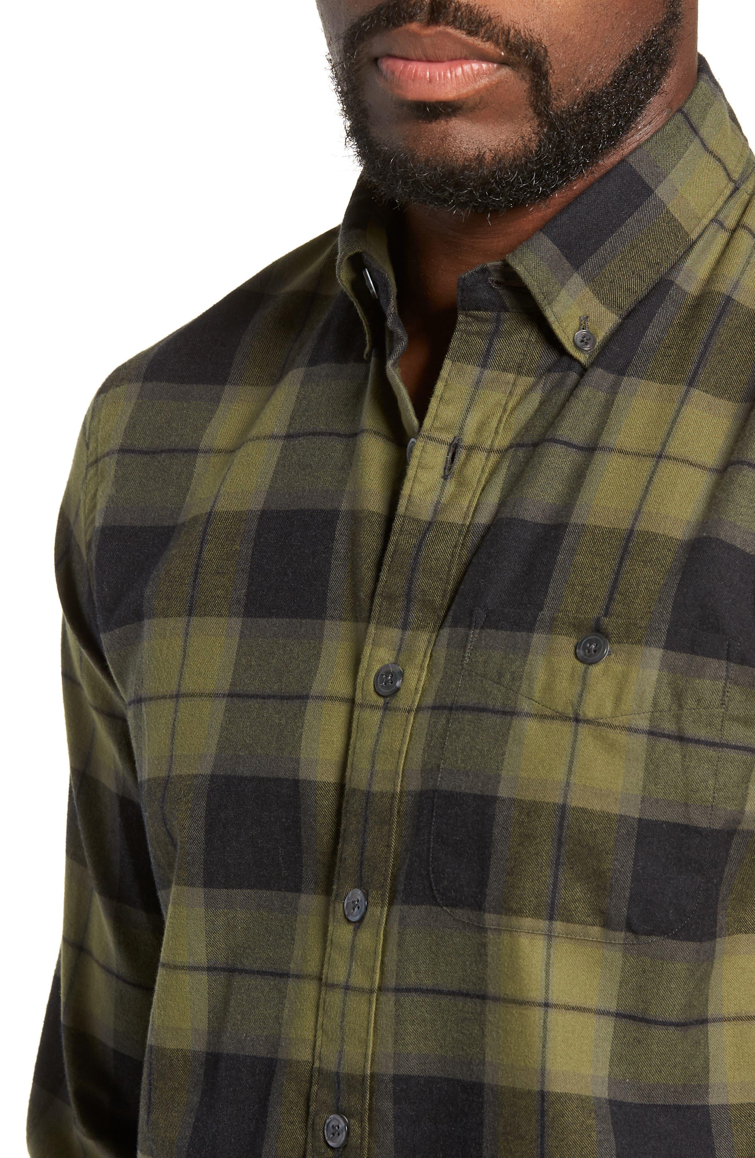 Classic Fit Plaid Flannel Sport Shirt,                             Alternate thumbnail 2, color,                             OLIVE