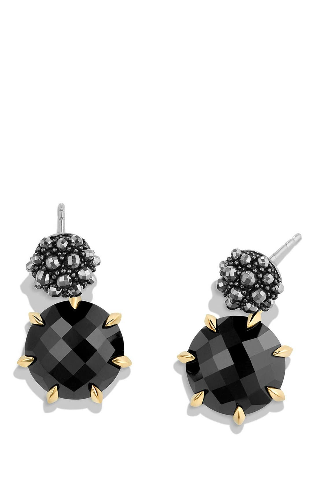 Cable Berries Drop Earrings with 18K Gold,                             Alternate thumbnail 2, color,                             BLACK ONYX/ HEMATINE