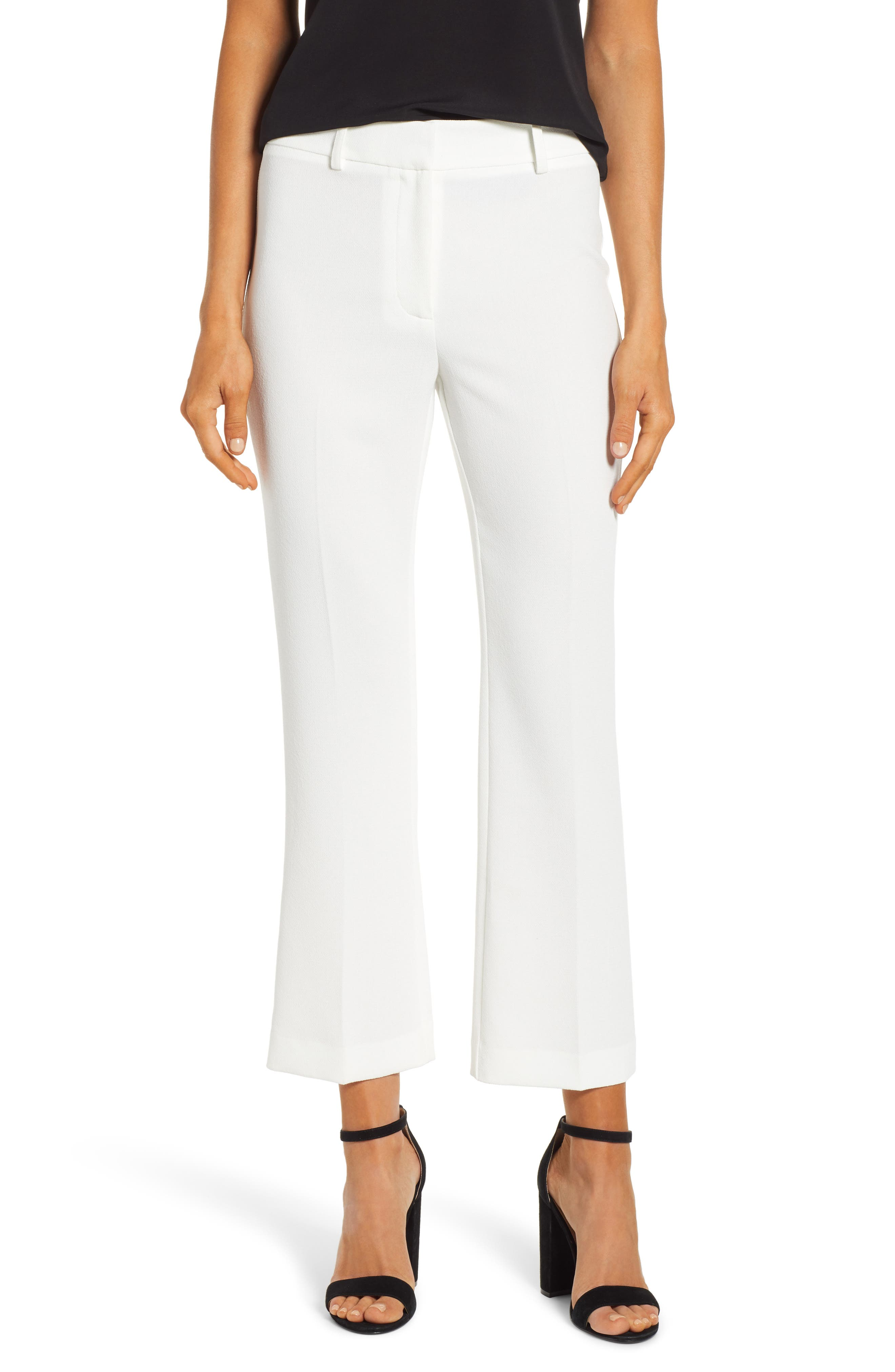 1.state Crepe Kick Flare Ankle Pants, White