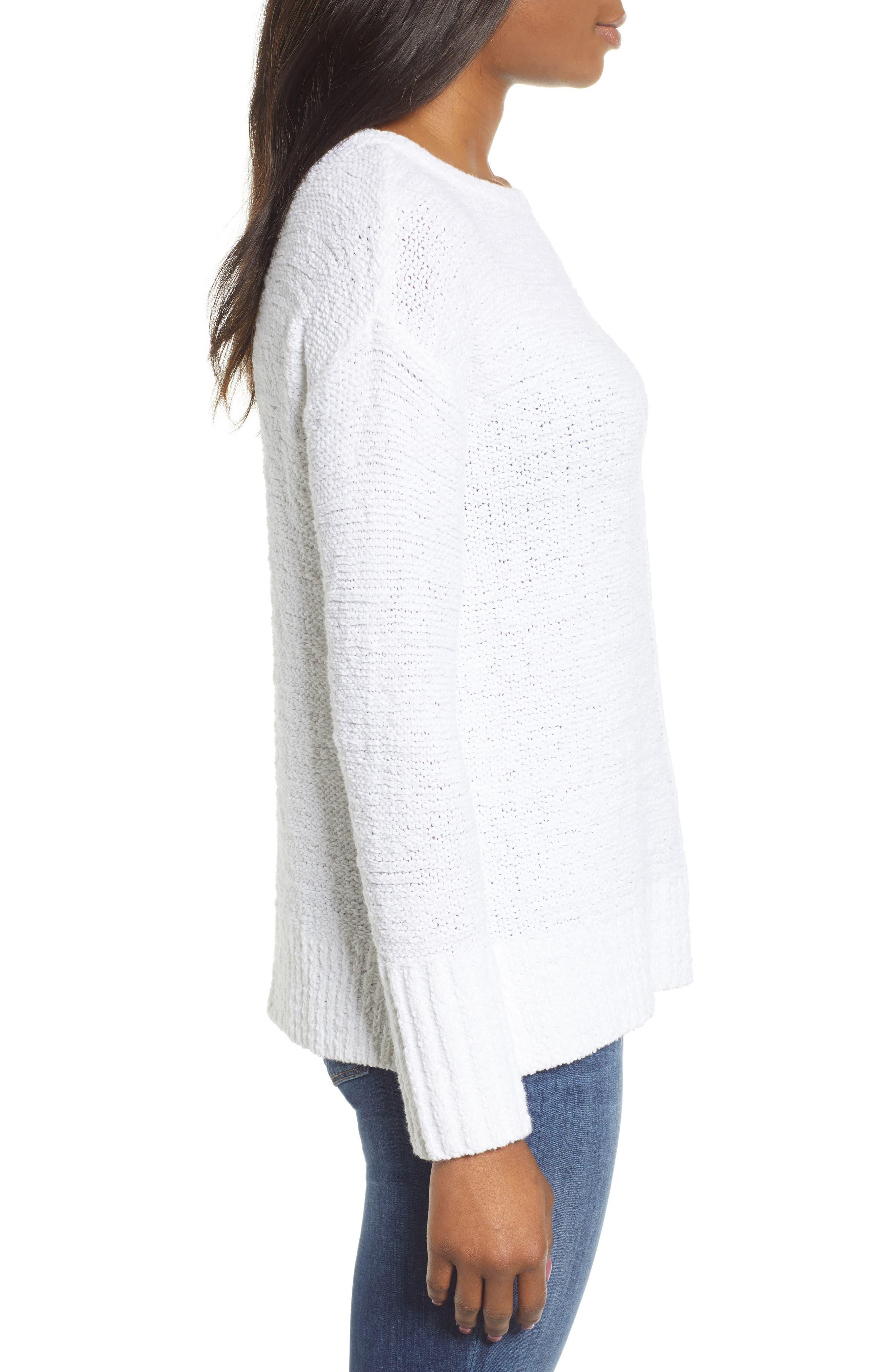 Button Back Sweater,                             Alternate thumbnail 3, color,                             WHITE