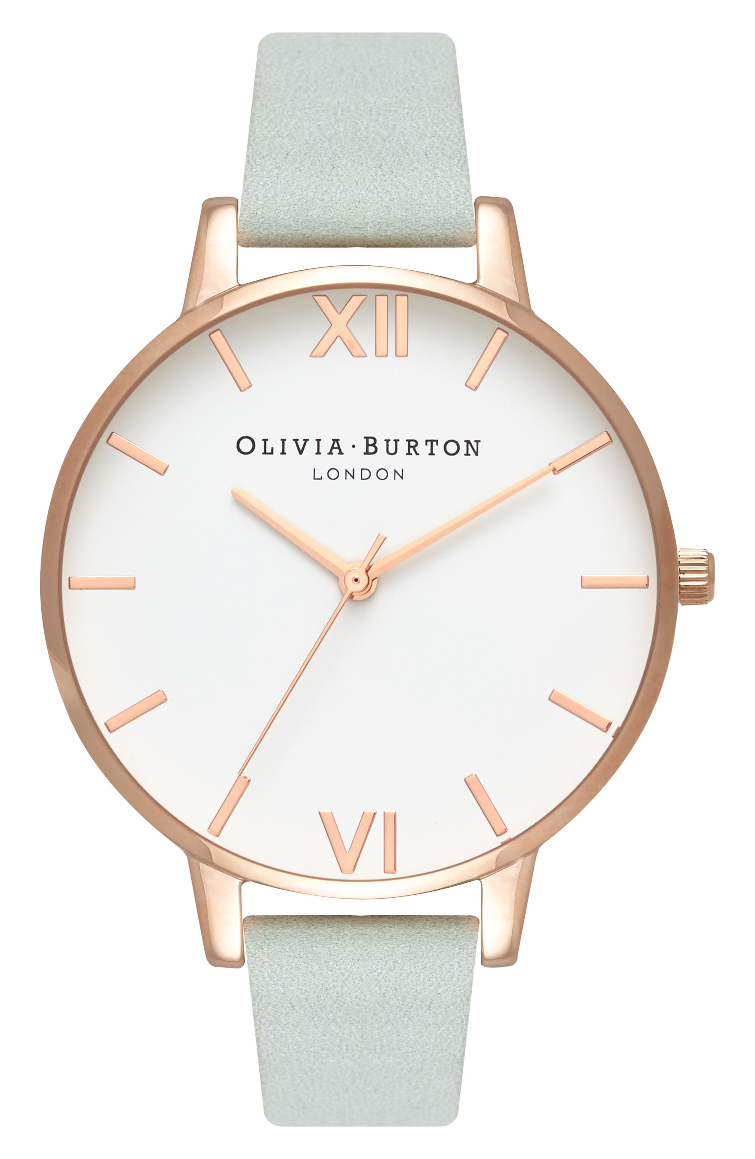 Leather Strap Watch, 38mm,                         Main,                         color, SAGE/ WHITE/ ROSE GOLD