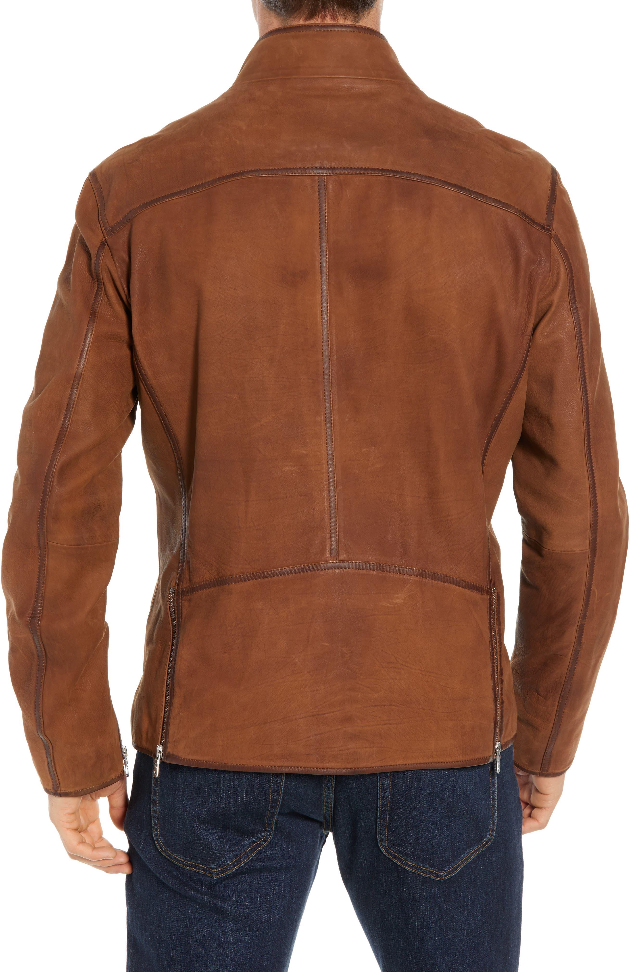 Regular Fit Leather Moto Jacket,                             Alternate thumbnail 2, color,                             COGNAC