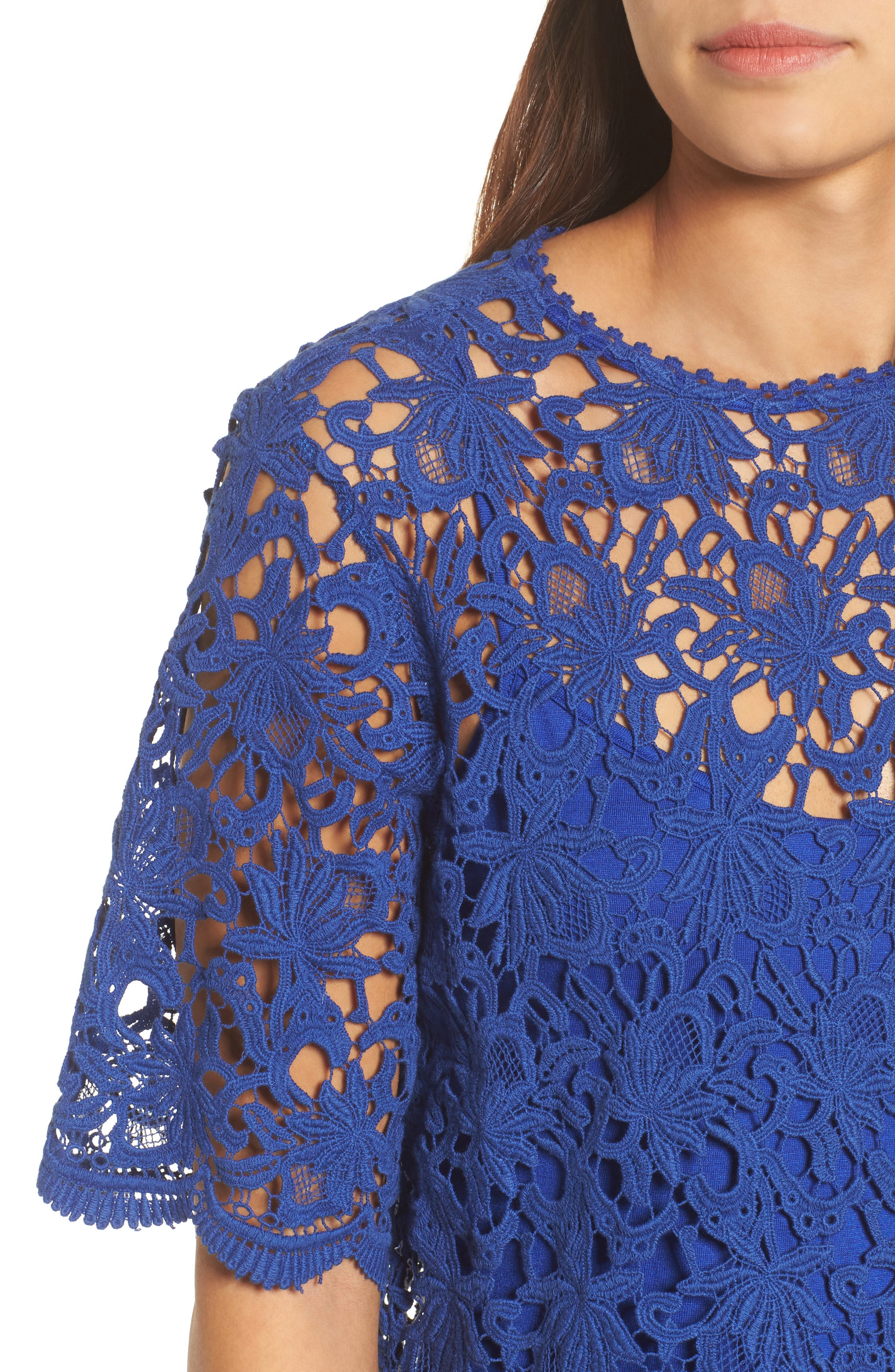 Lace Elbow Sleeve Blouse,                             Alternate thumbnail 8, color,