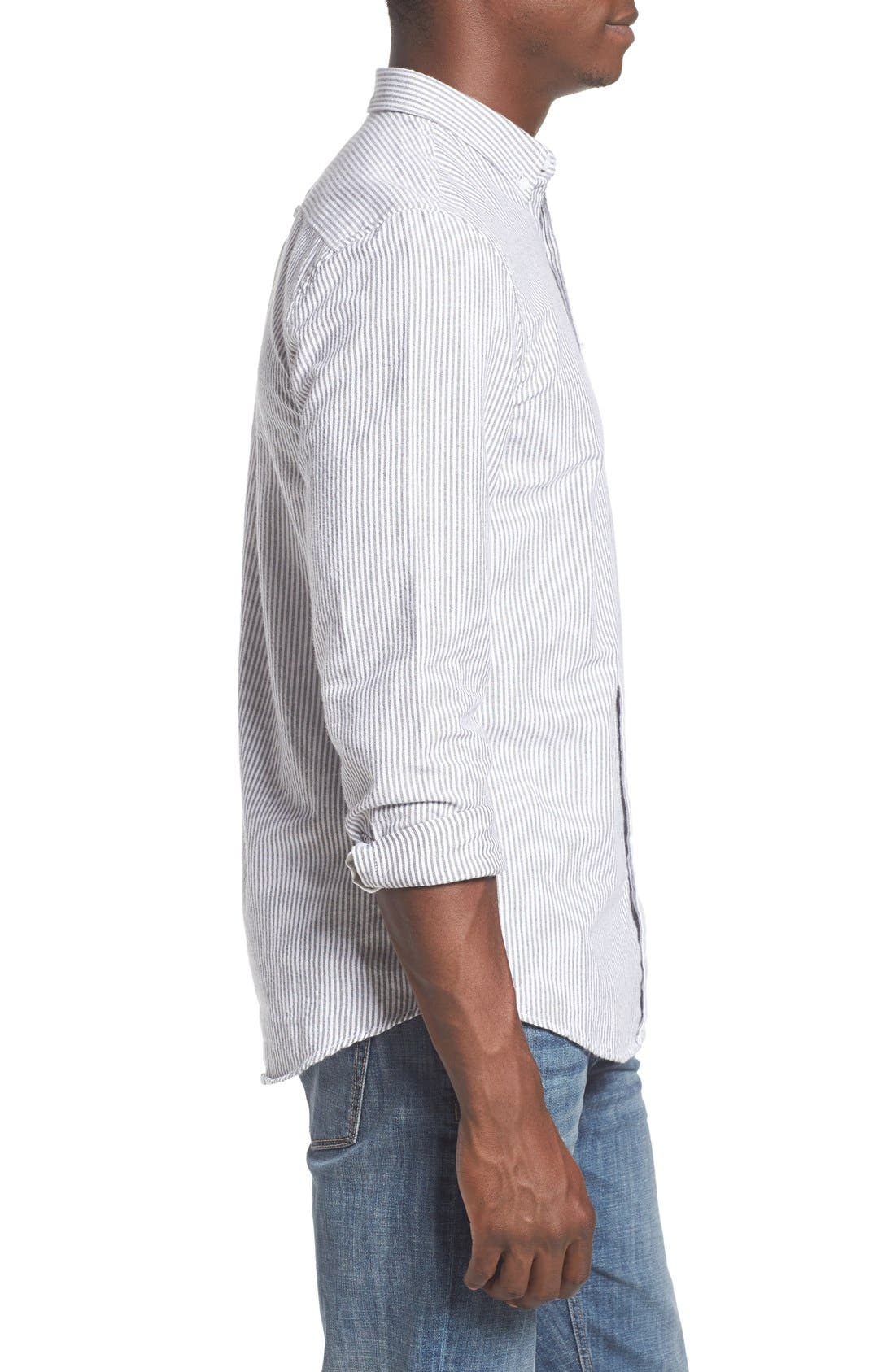 'Baker' Slim Fit Oxford Shirt,                             Alternate thumbnail 3, color,                             001