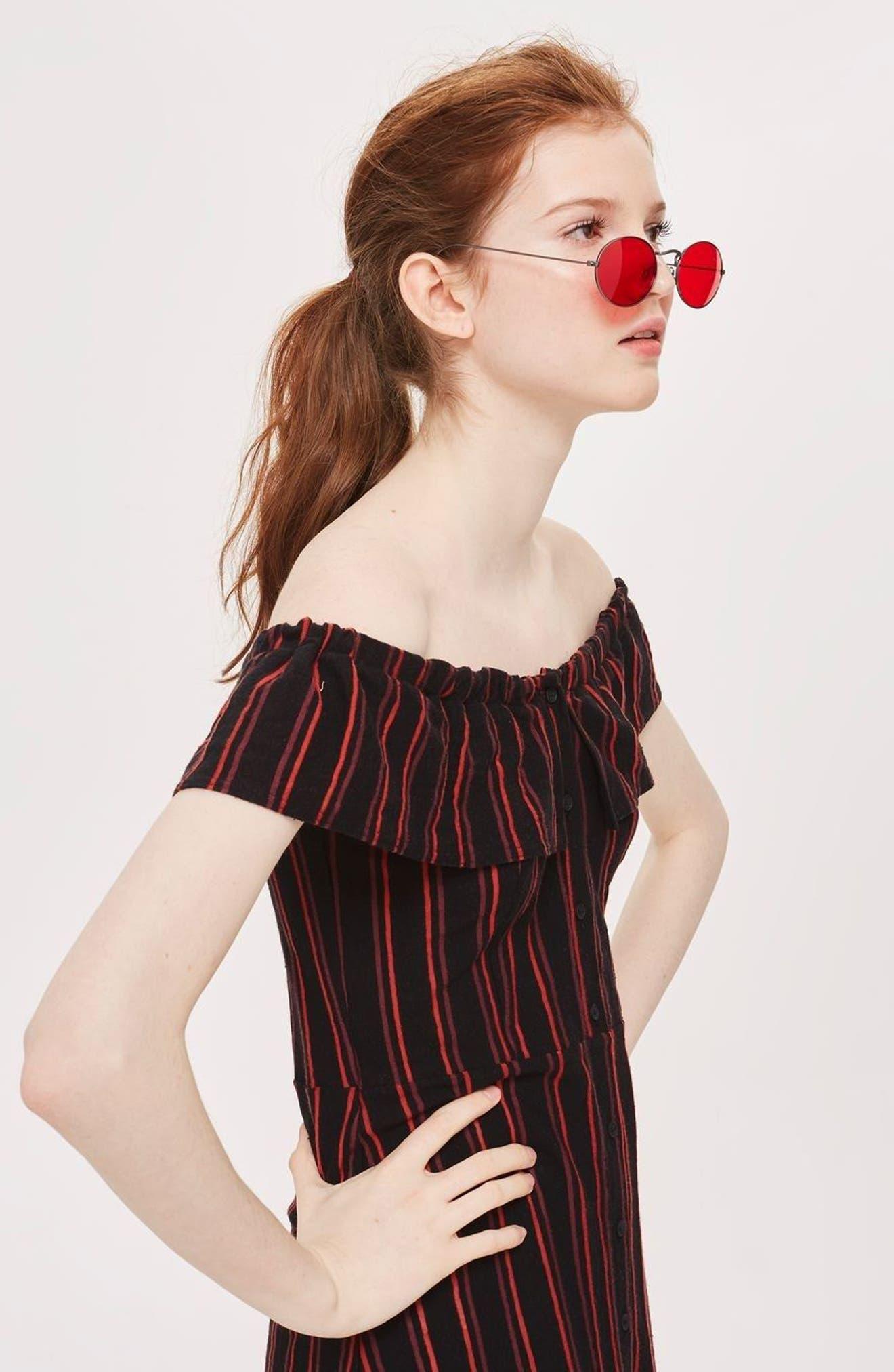 Stripe Frill Bardot Dress,                             Alternate thumbnail 6, color,                             002