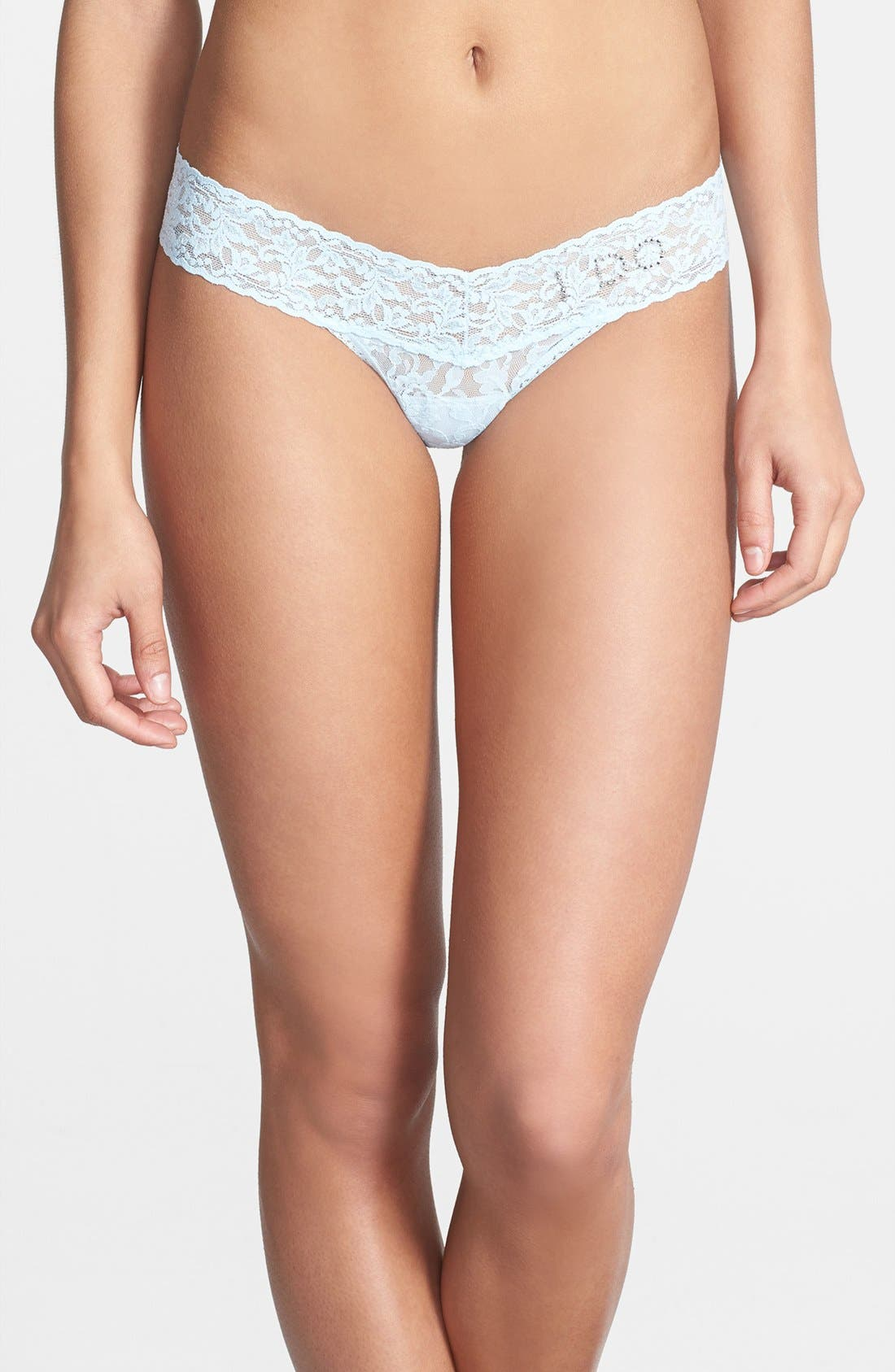 'I Do' Swarovski Crystal Low Rise Thong,                             Alternate thumbnail 4, color,                             POWDER BLUE