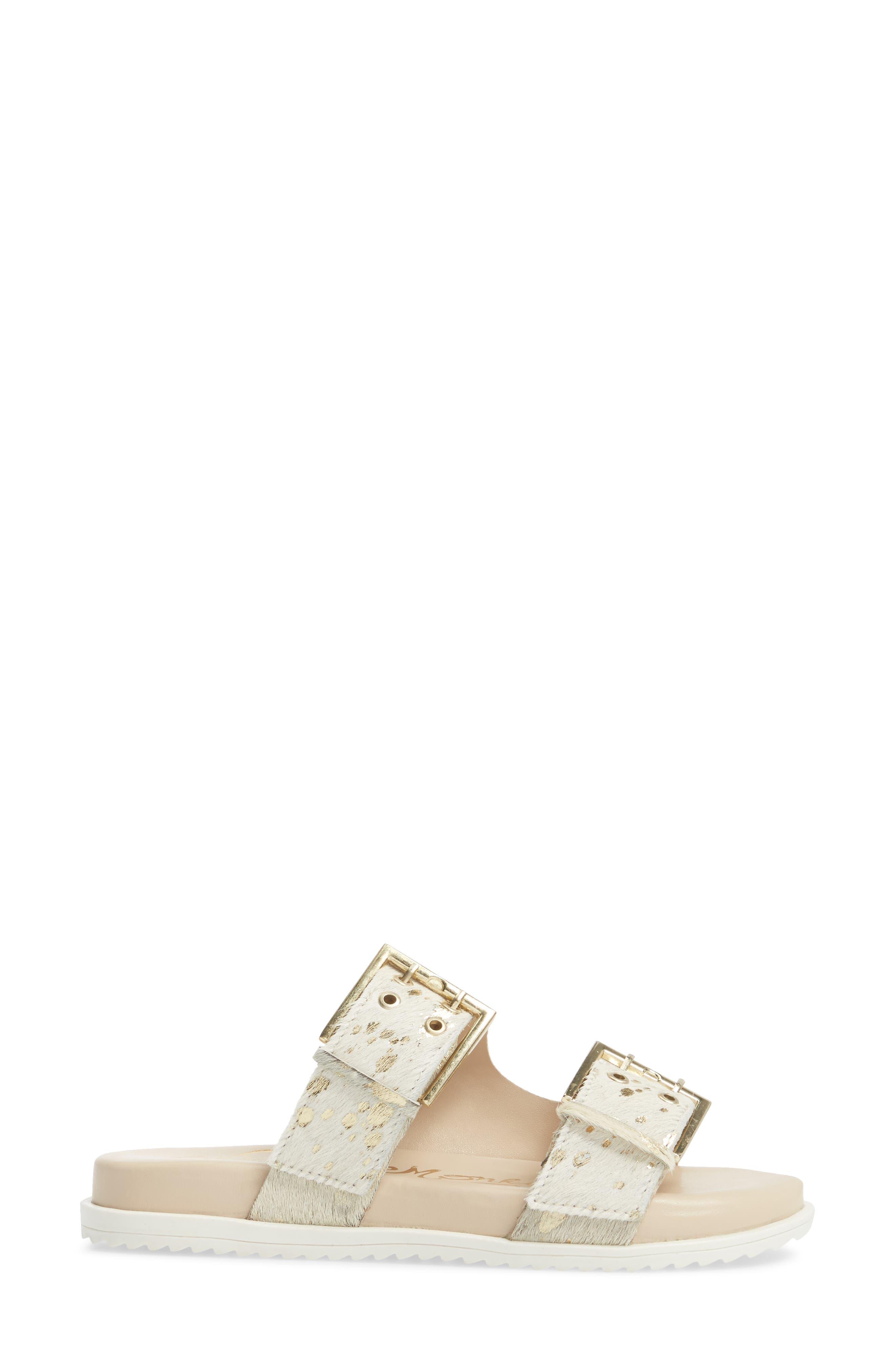 Genuine Calf Hair Double Strap Sandal,                             Alternate thumbnail 5, color,