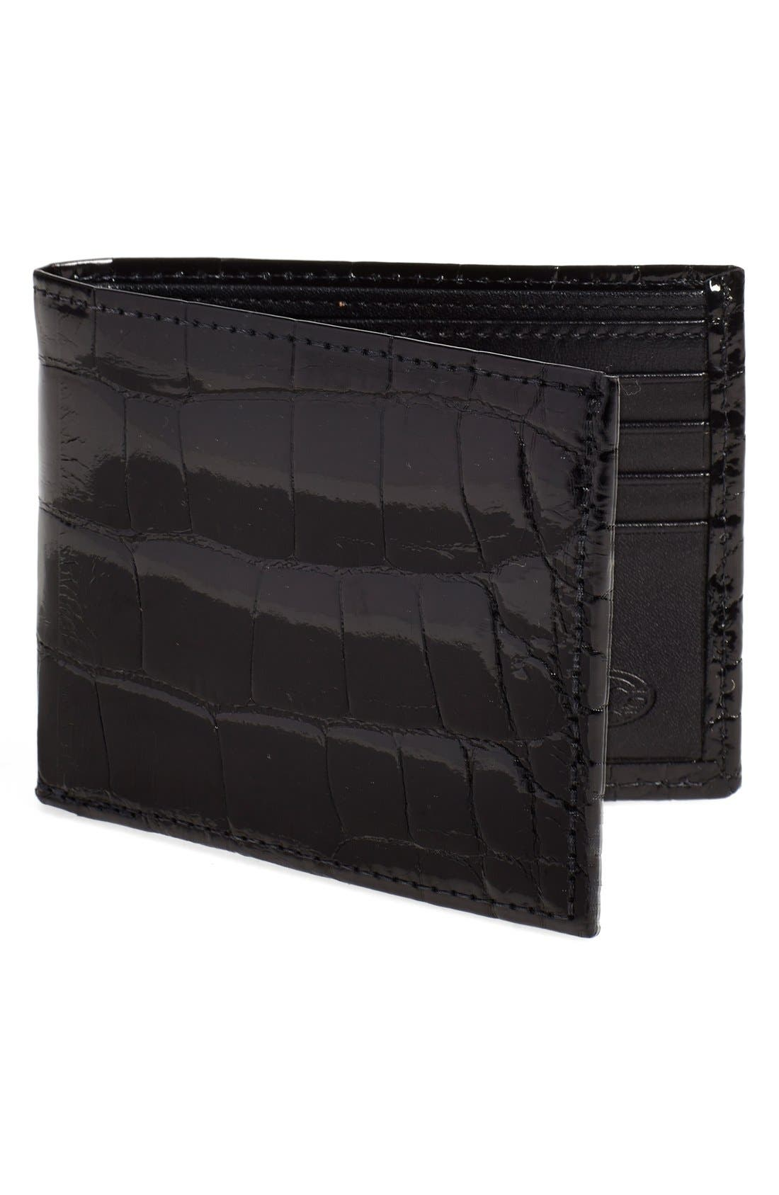Genuine Alligator Wallet,                             Main thumbnail 1, color,                             BLACK
