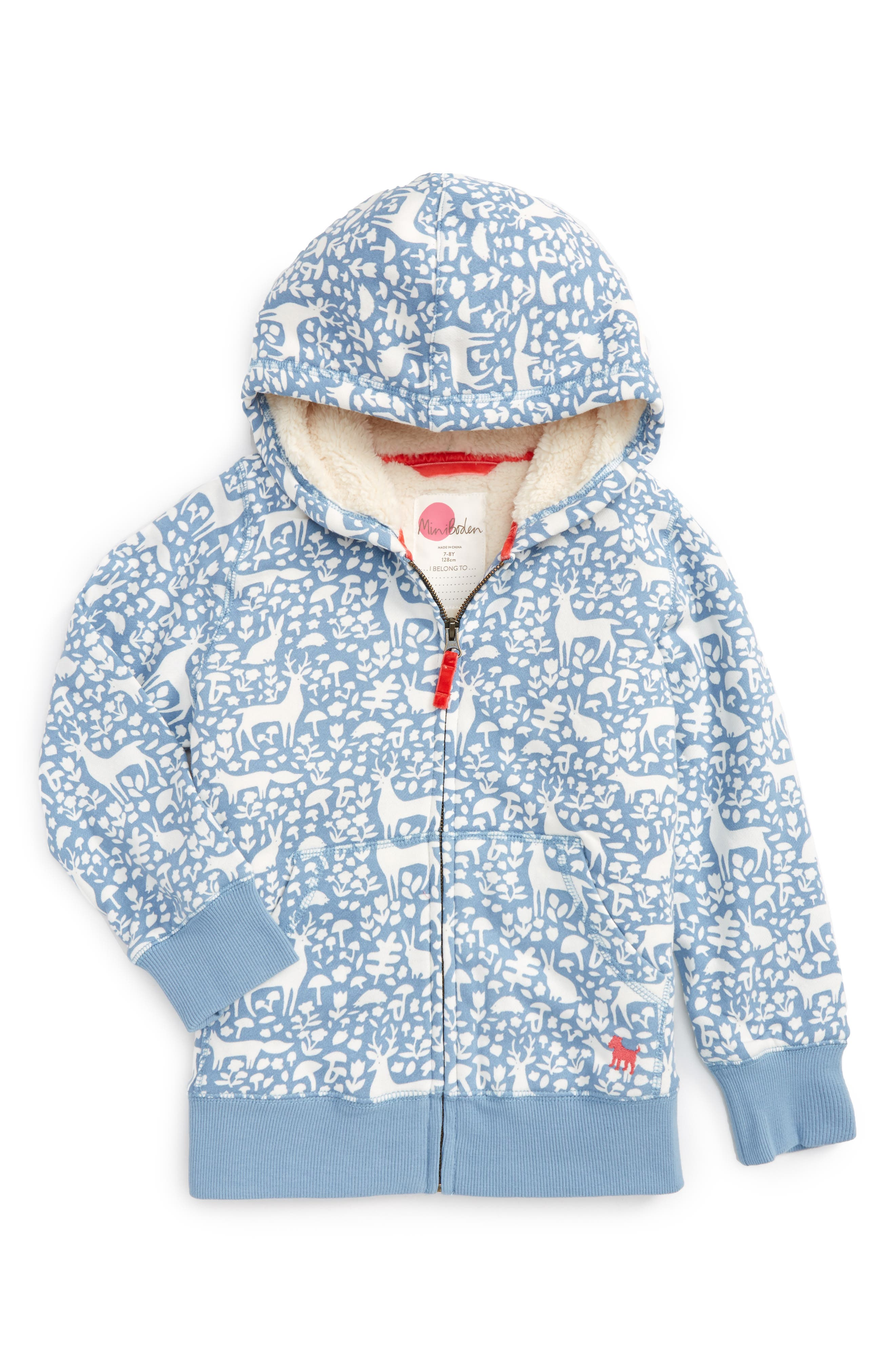 Boden Print Shaggy Lined Hoodie,                             Main thumbnail 2, color,