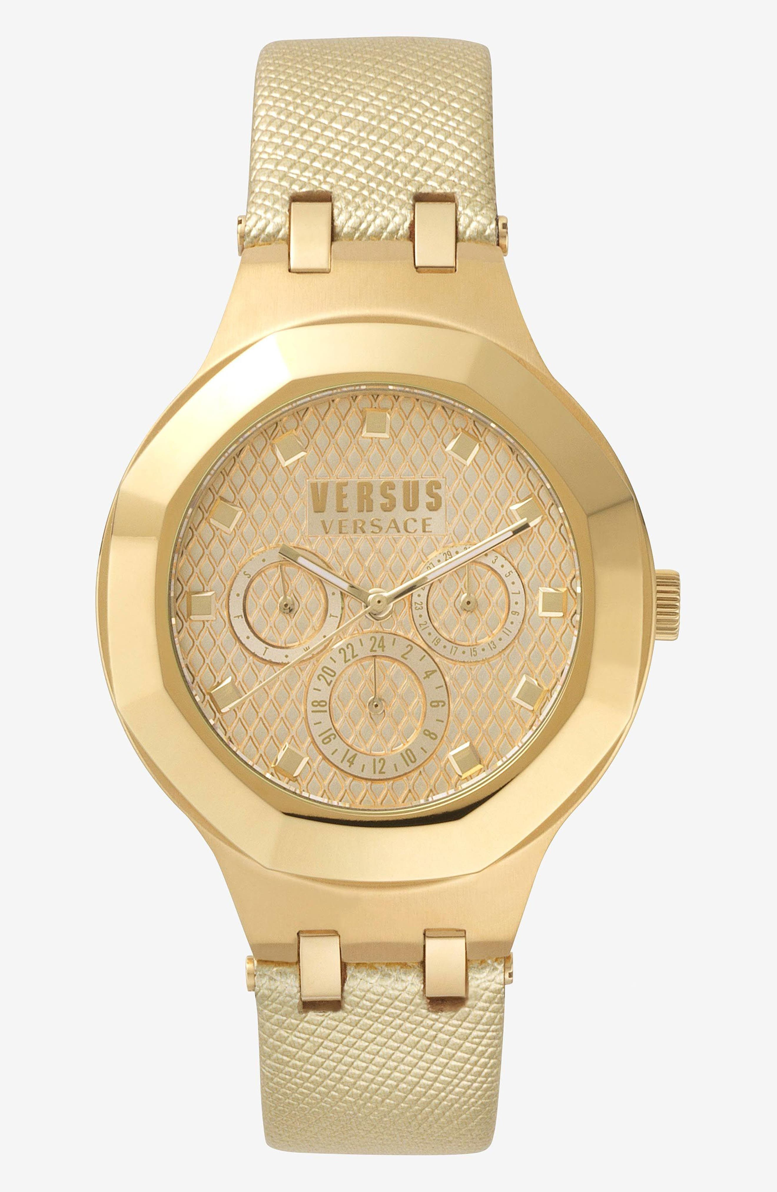 VERSUS by Versace Laguna City Multifunction Leather Strap Watch, 40mm,                             Main thumbnail 2, color,