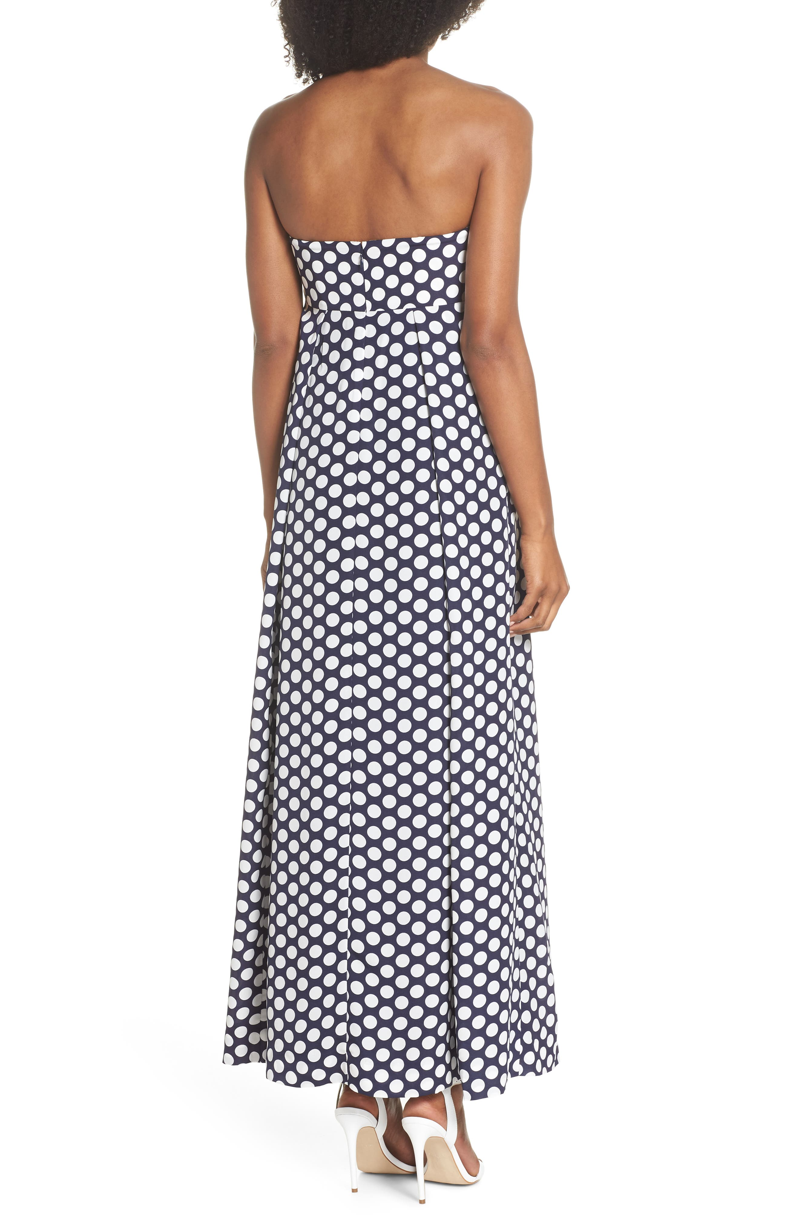 Strapless Dot Tie Front Maxi Dress,                             Alternate thumbnail 2, color,                             400