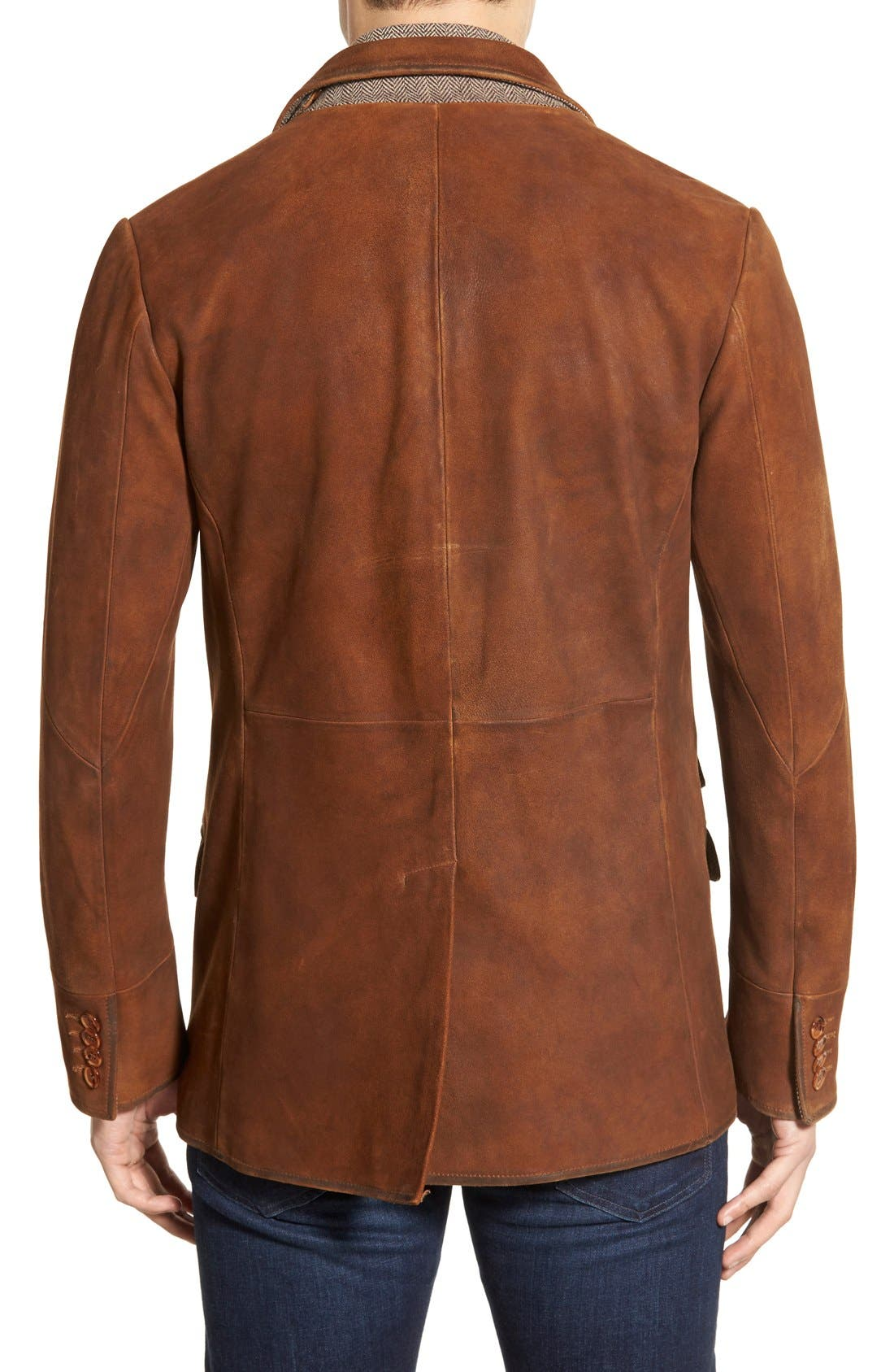 Classic Fit Distressed Leather Hybrid Coat,                             Alternate thumbnail 8, color,                             BROWN
