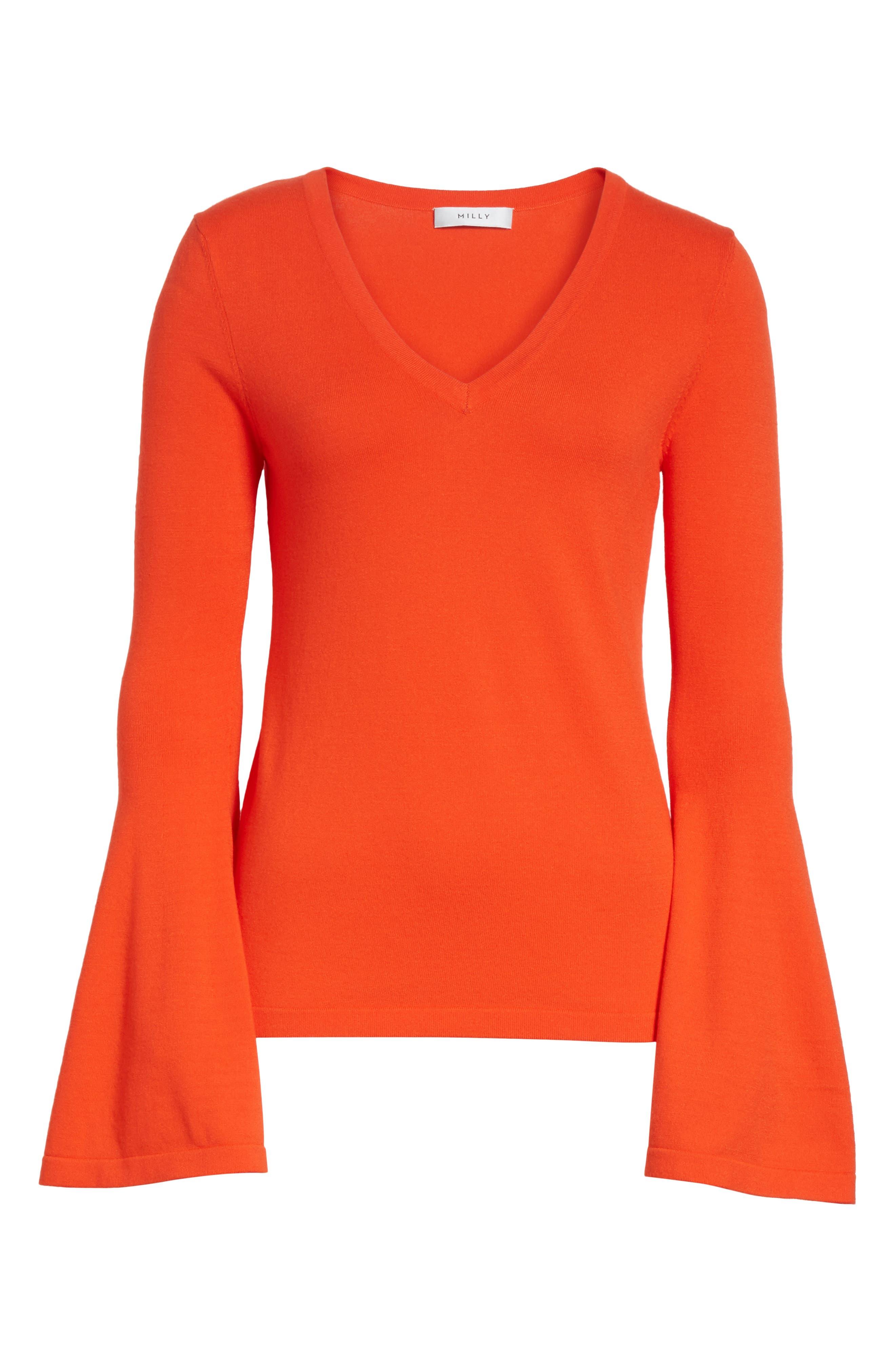 Bell Sleeve V-Neck Sweater,                             Alternate thumbnail 24, color,