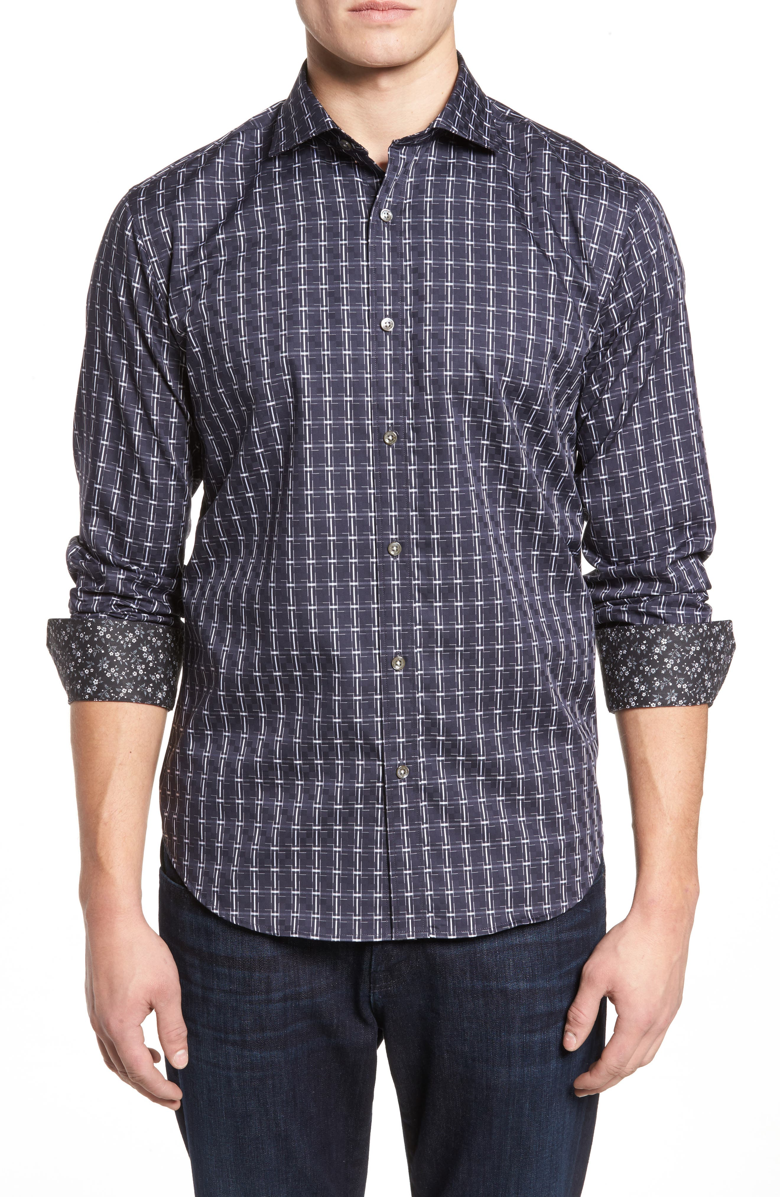 Shaped Fit Plaid Sport Shirt,                         Main,                         color,