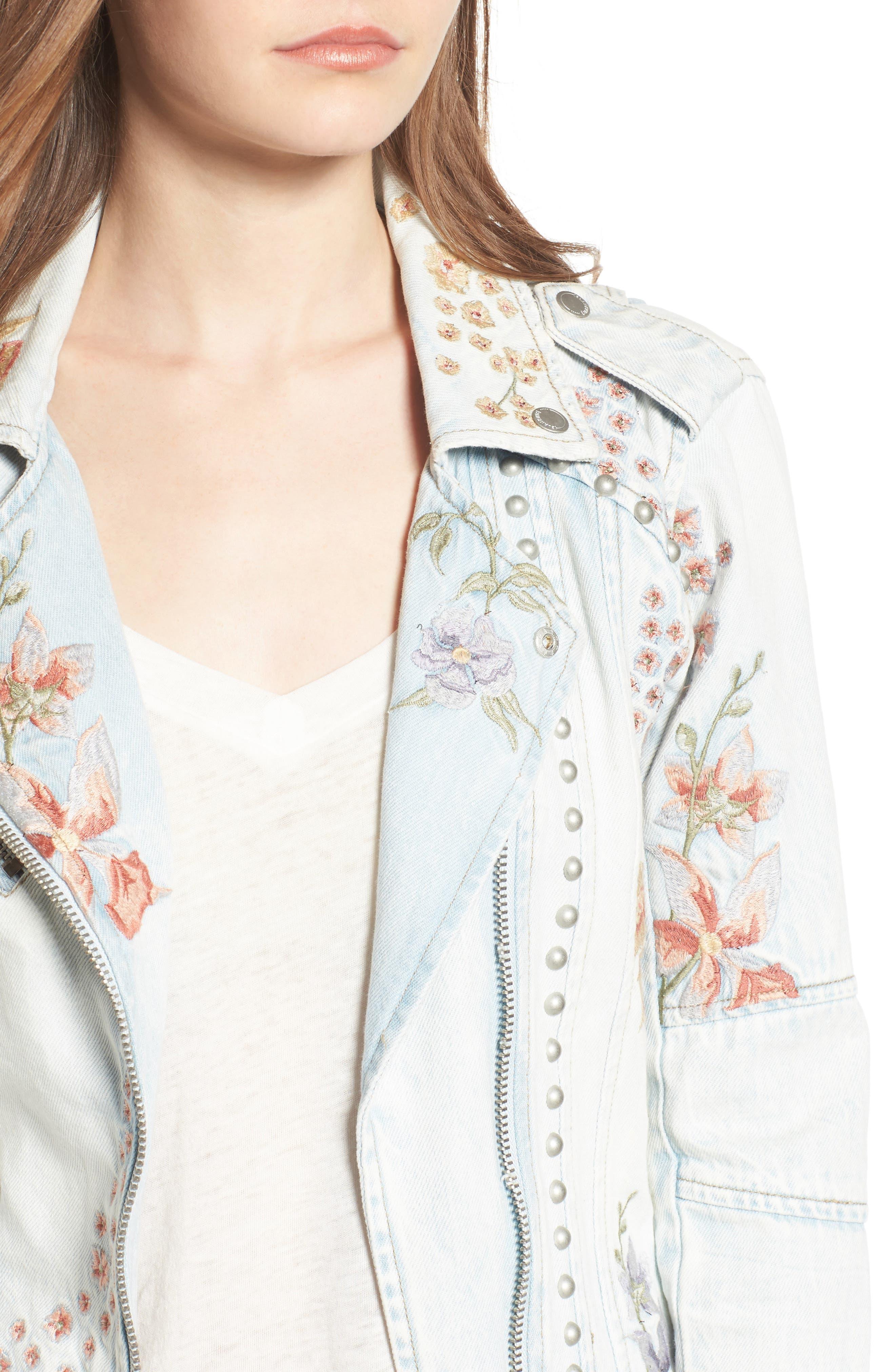 Embroidered Denim Moto Jacket,                             Alternate thumbnail 4, color,                             400