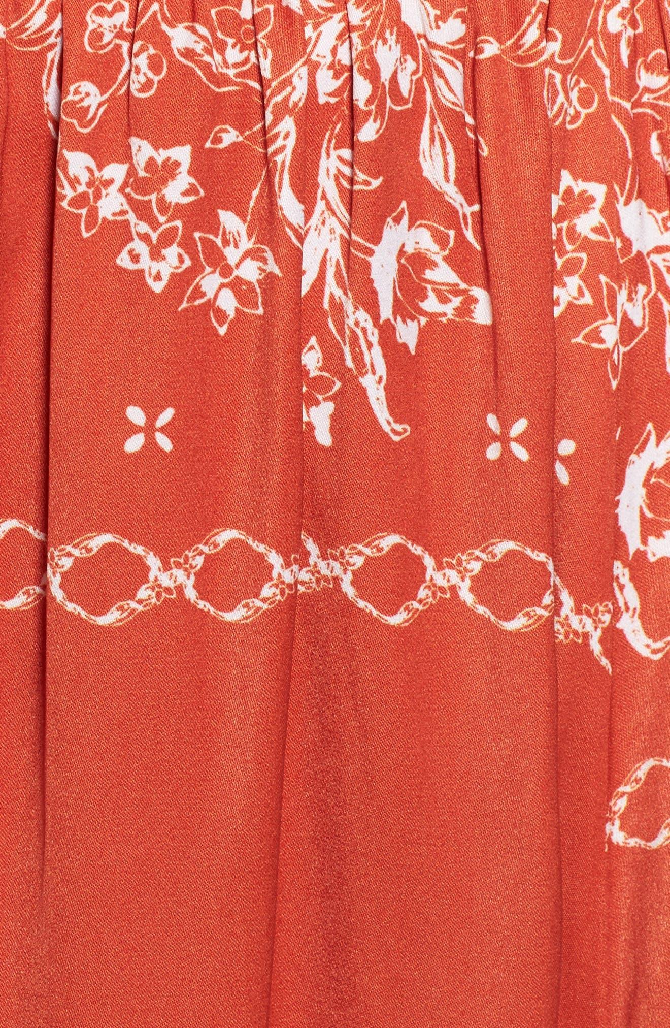 Jacqui Floral Print Cold Shoulder Dress,                             Alternate thumbnail 5, color,                             600