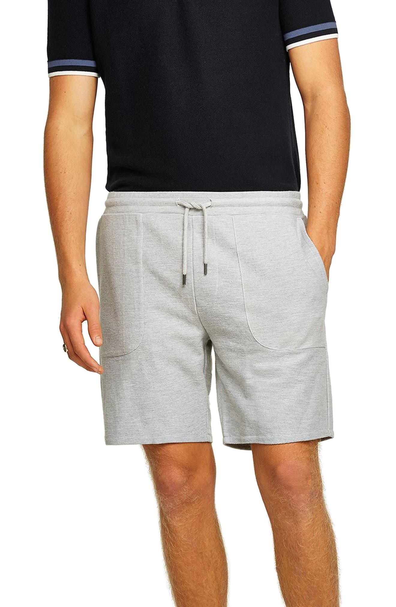 Slim Fit Twill Jersey Shorts,                             Main thumbnail 1, color,                             GREY