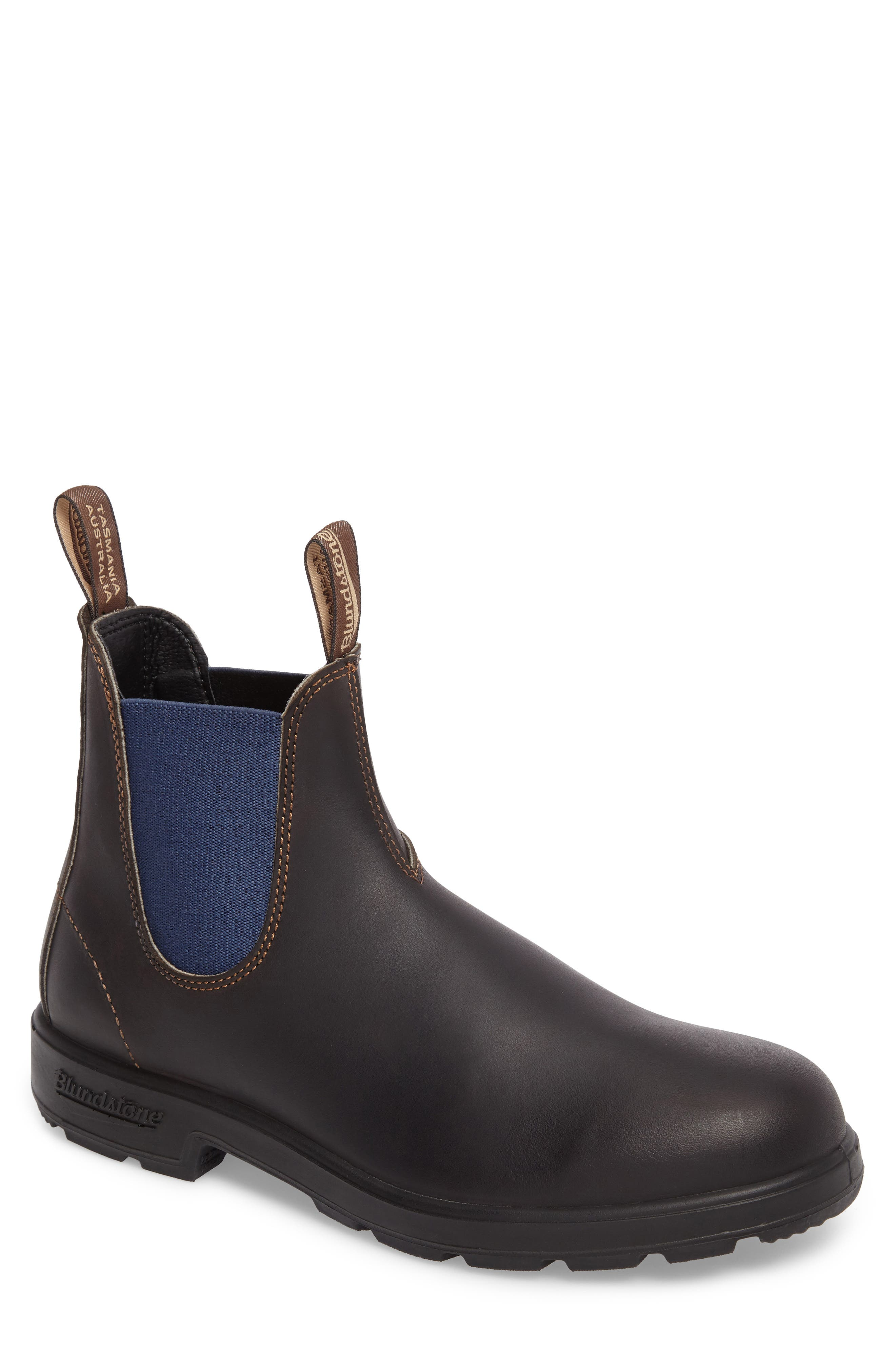 Chelsea Boot,                             Main thumbnail 1, color,                             BROWN/ BLUE LEATHER