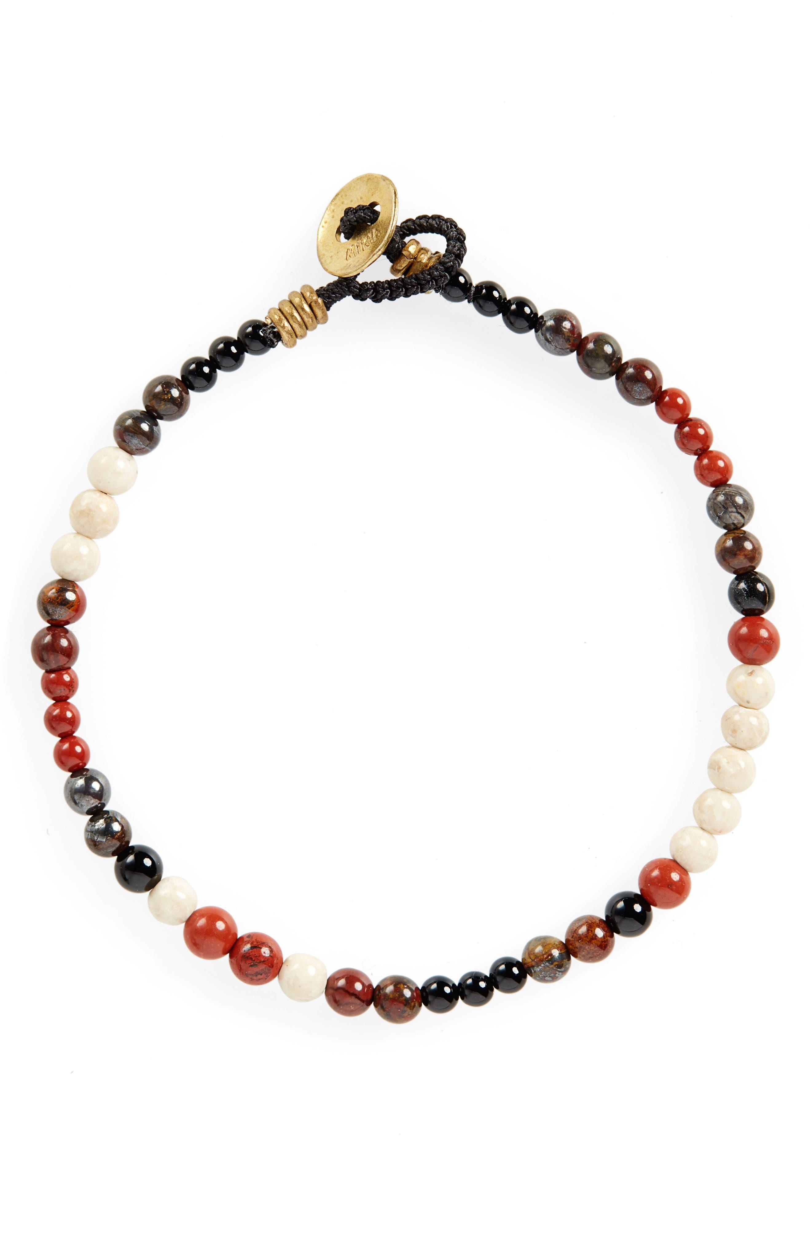 Stone Bead Bracelet,                             Main thumbnail 1, color,                             RED JASPER/ RIVER STONE