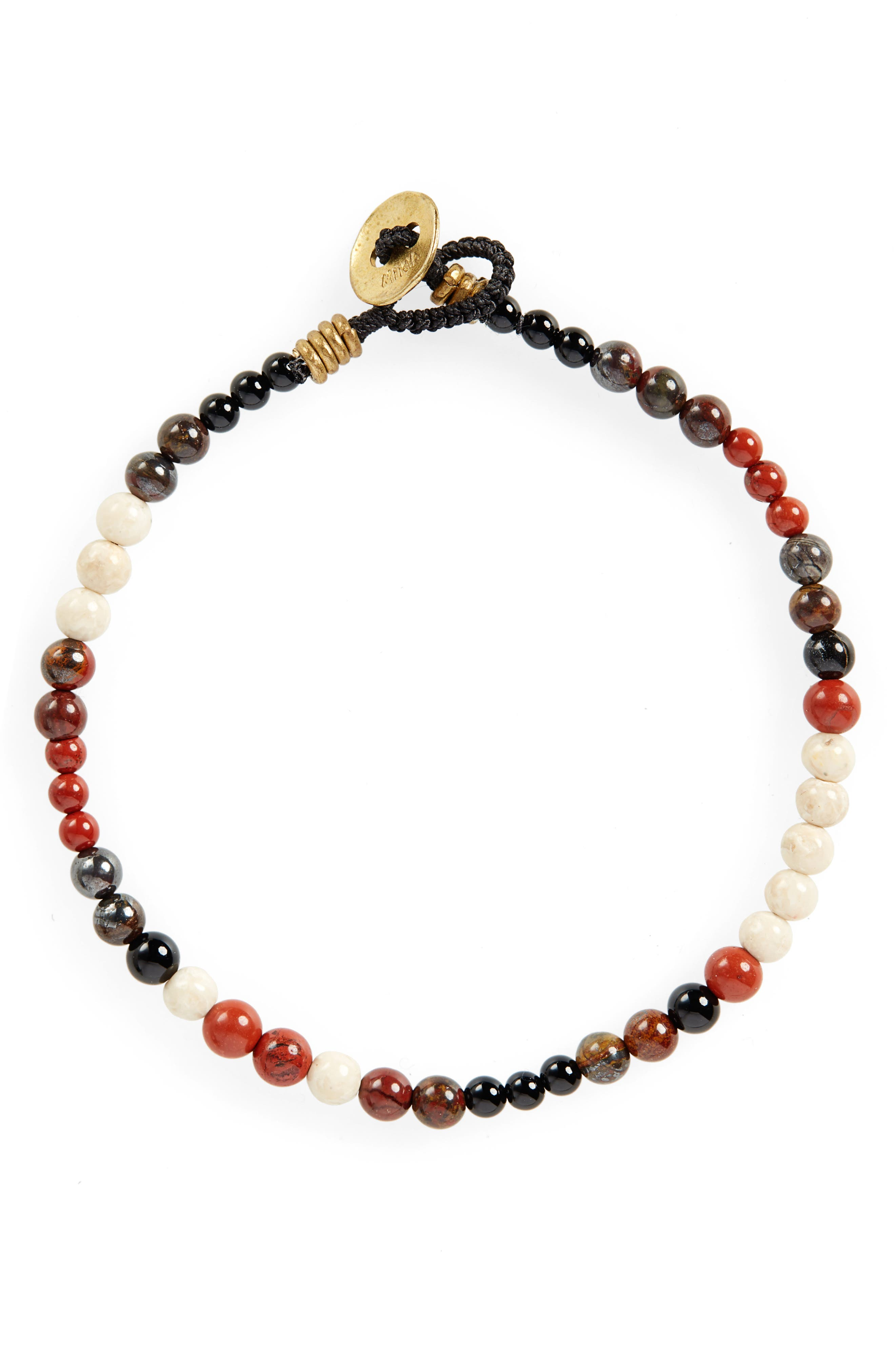 Stone Bead Bracelet, Main, color, RED JASPER/ RIVER STONE