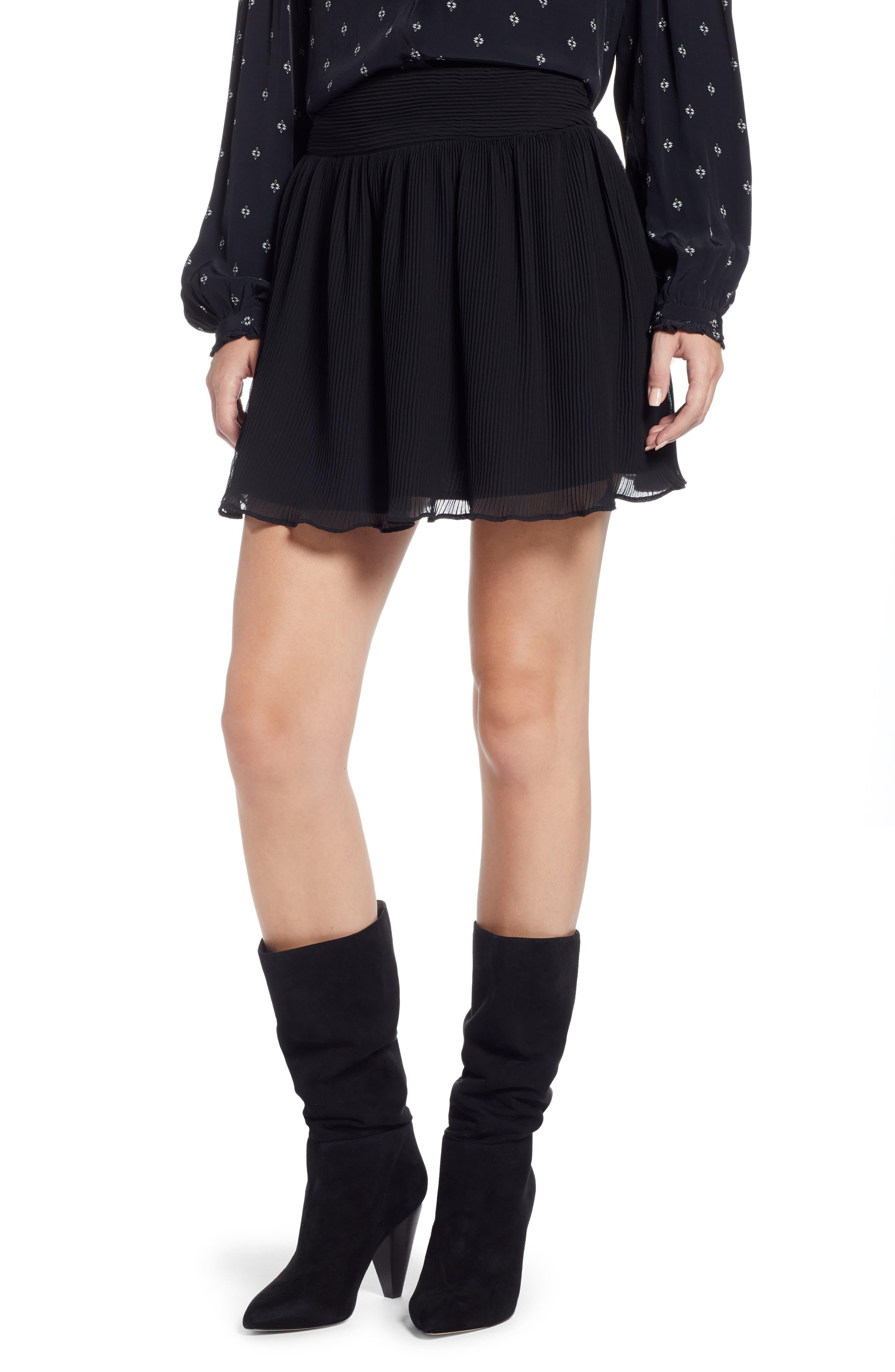 Pleated Flounce Miniskirt,                             Main thumbnail 1, color,                             001