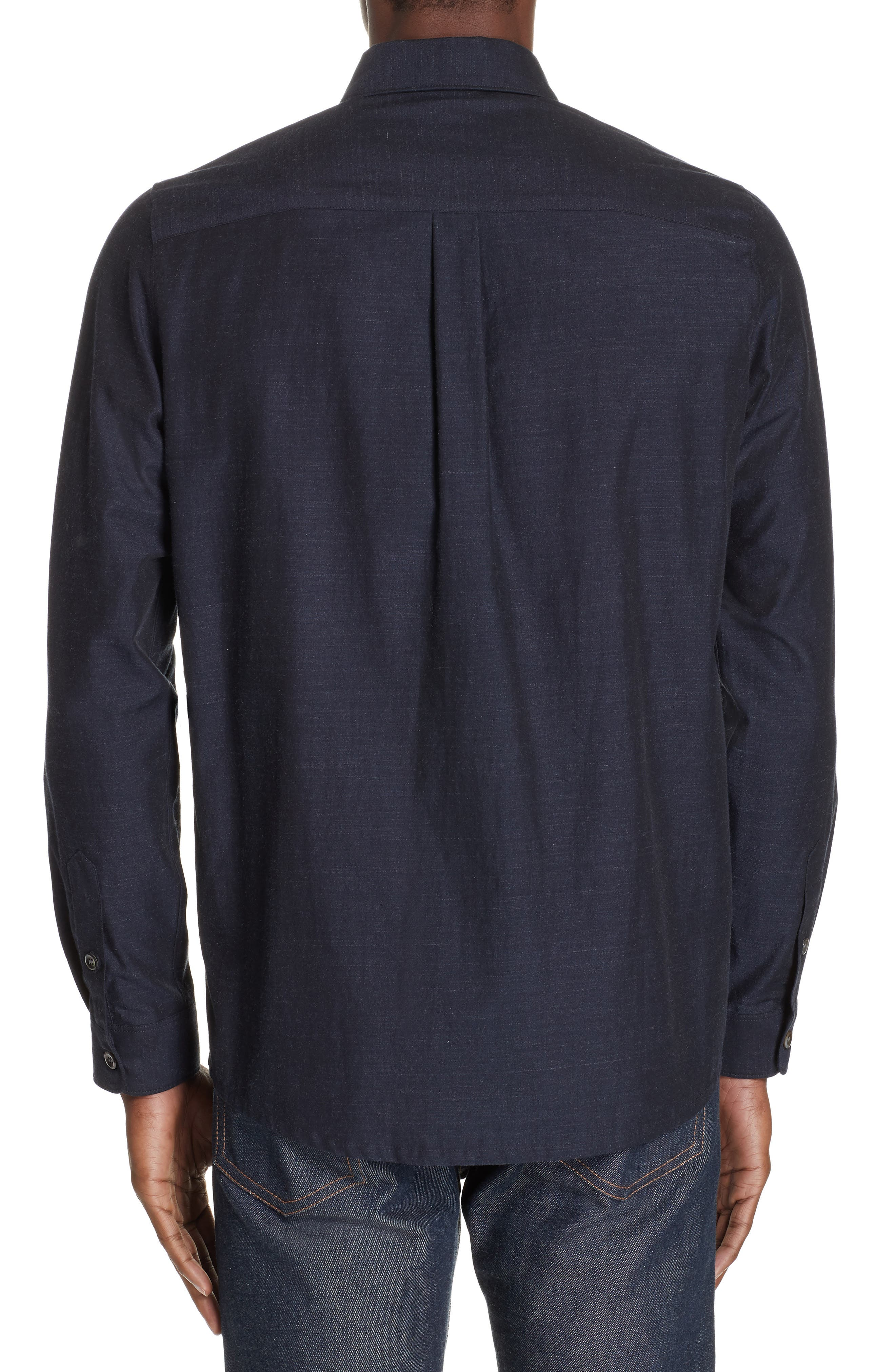 A.P.C.,                             Slubbed Sport Shirt,                             Alternate thumbnail 3, color,                             DARK NAVY