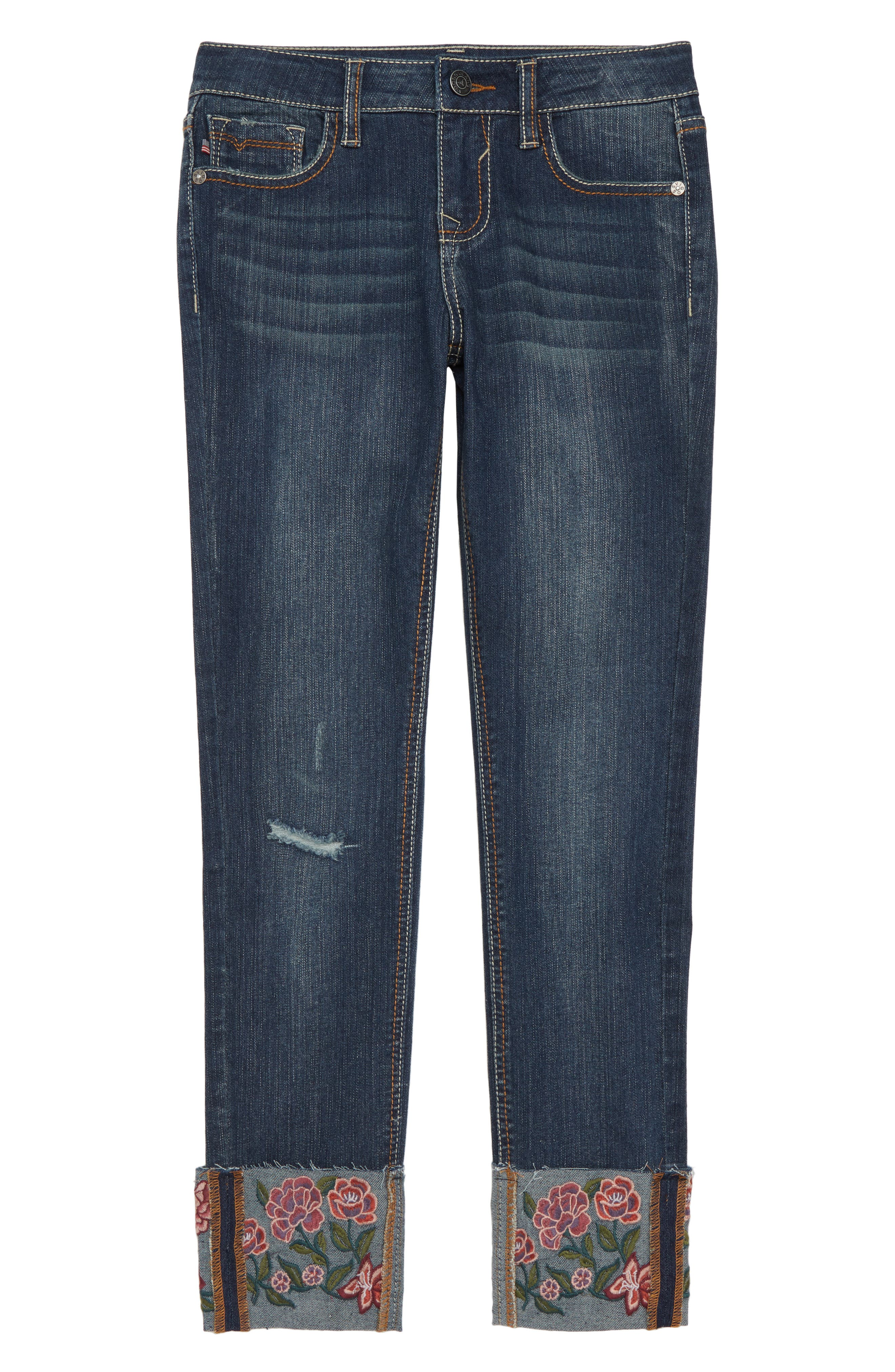 Embroidered Cuff Jeans,                             Main thumbnail 1, color,                             DARK MIDNIGHT/ DMN