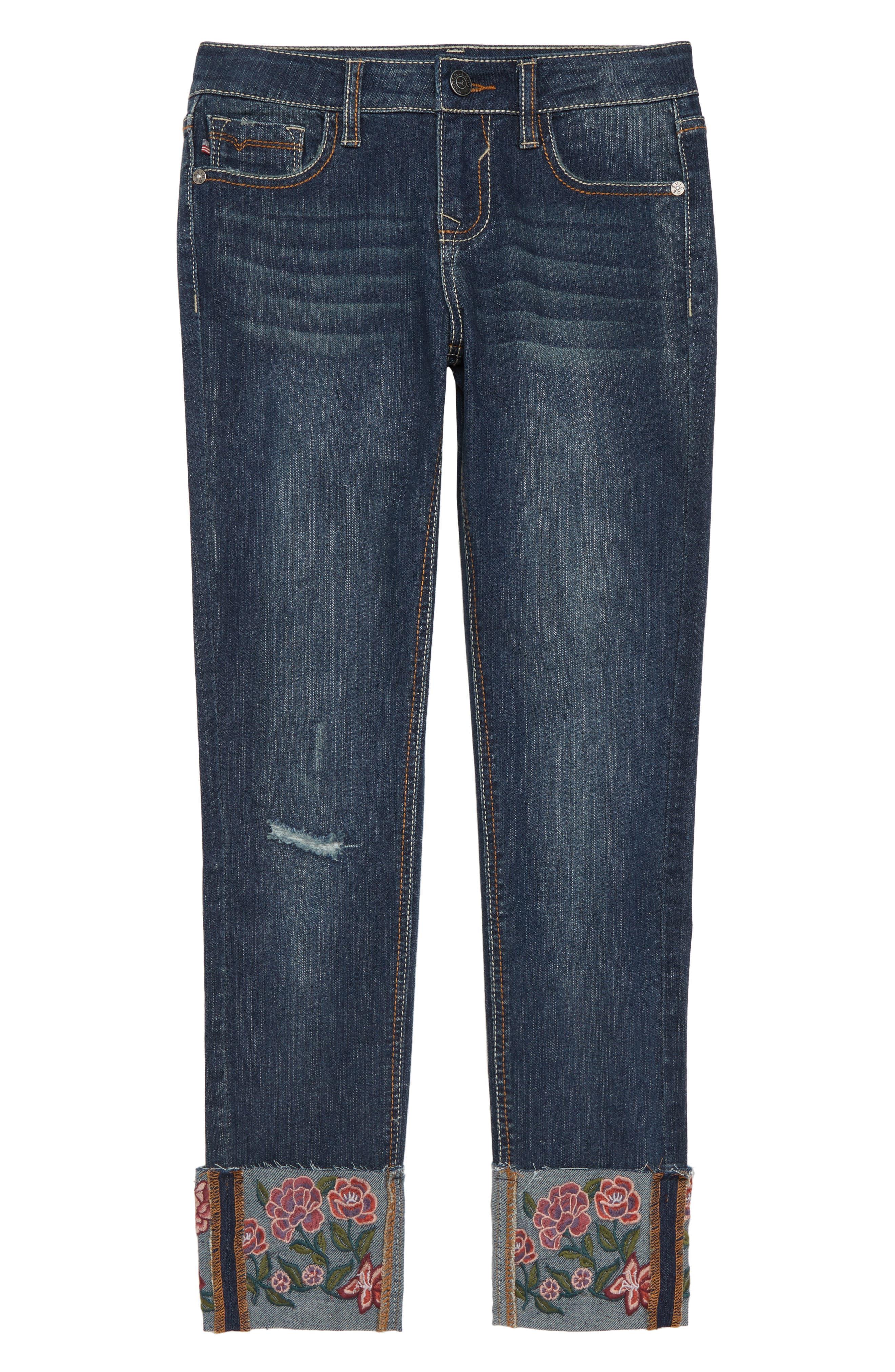 Embroidered Cuff Jeans,                         Main,                         color, DARK MIDNIGHT/ DMN